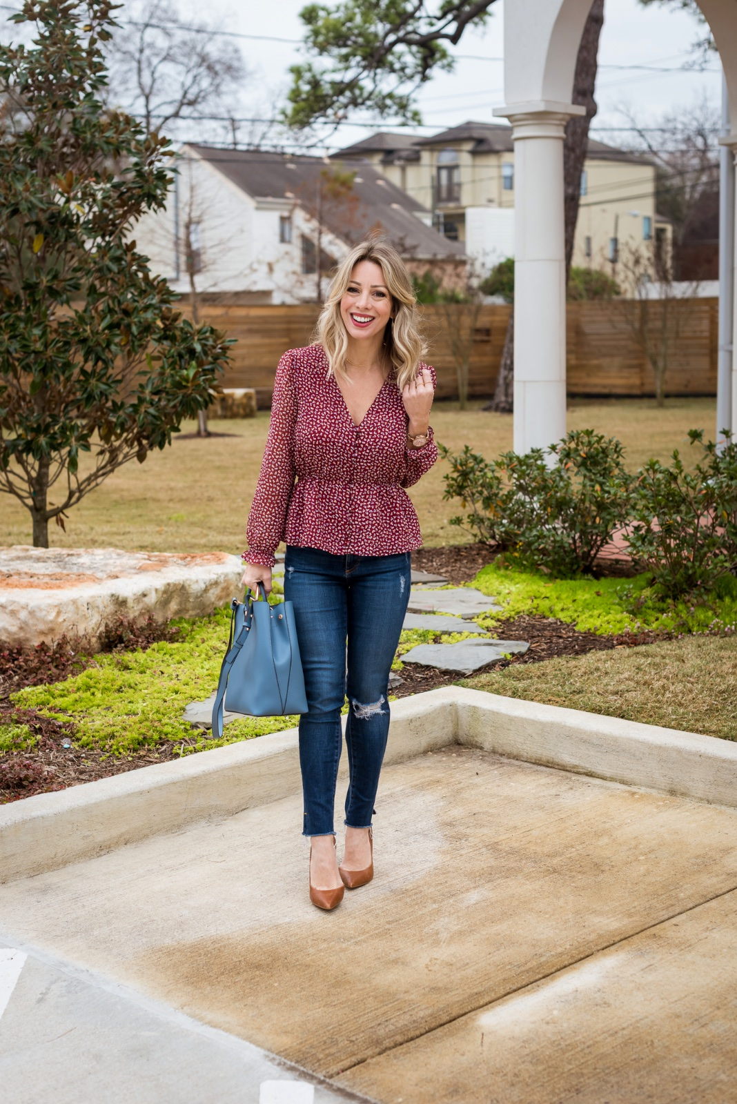 Jeans and red blouse