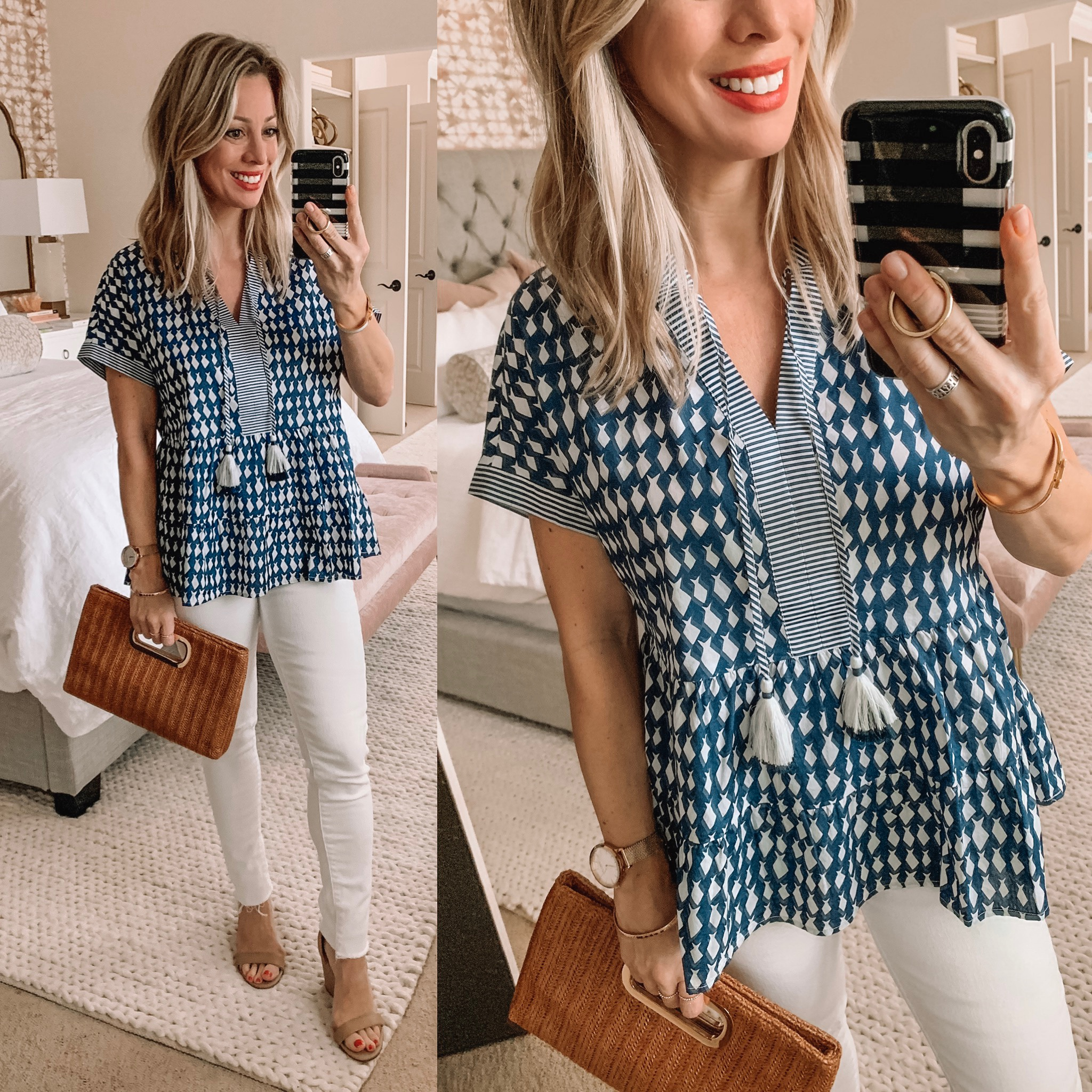 blue tunic and white jeans
