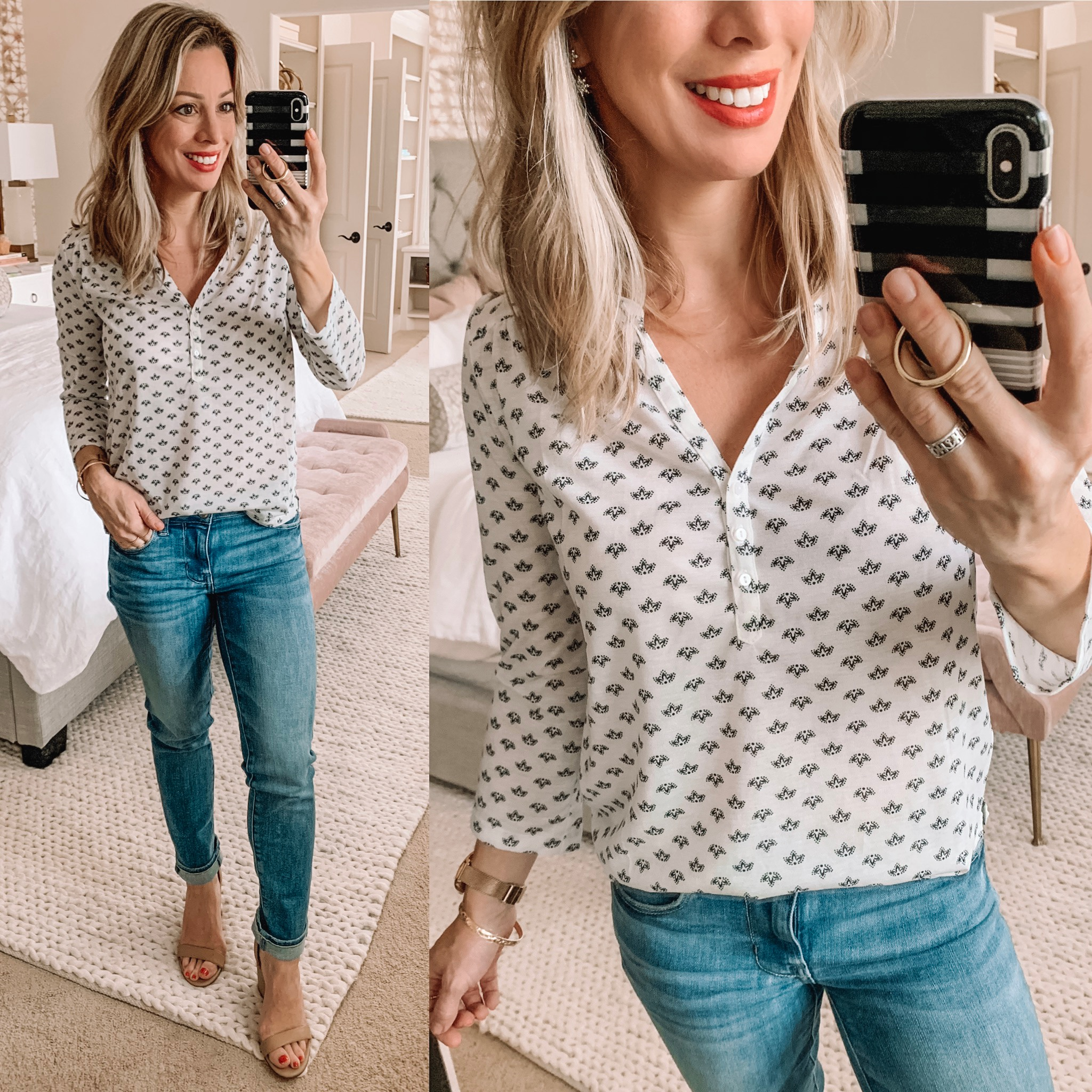 Pattern tunic and skinny jeans