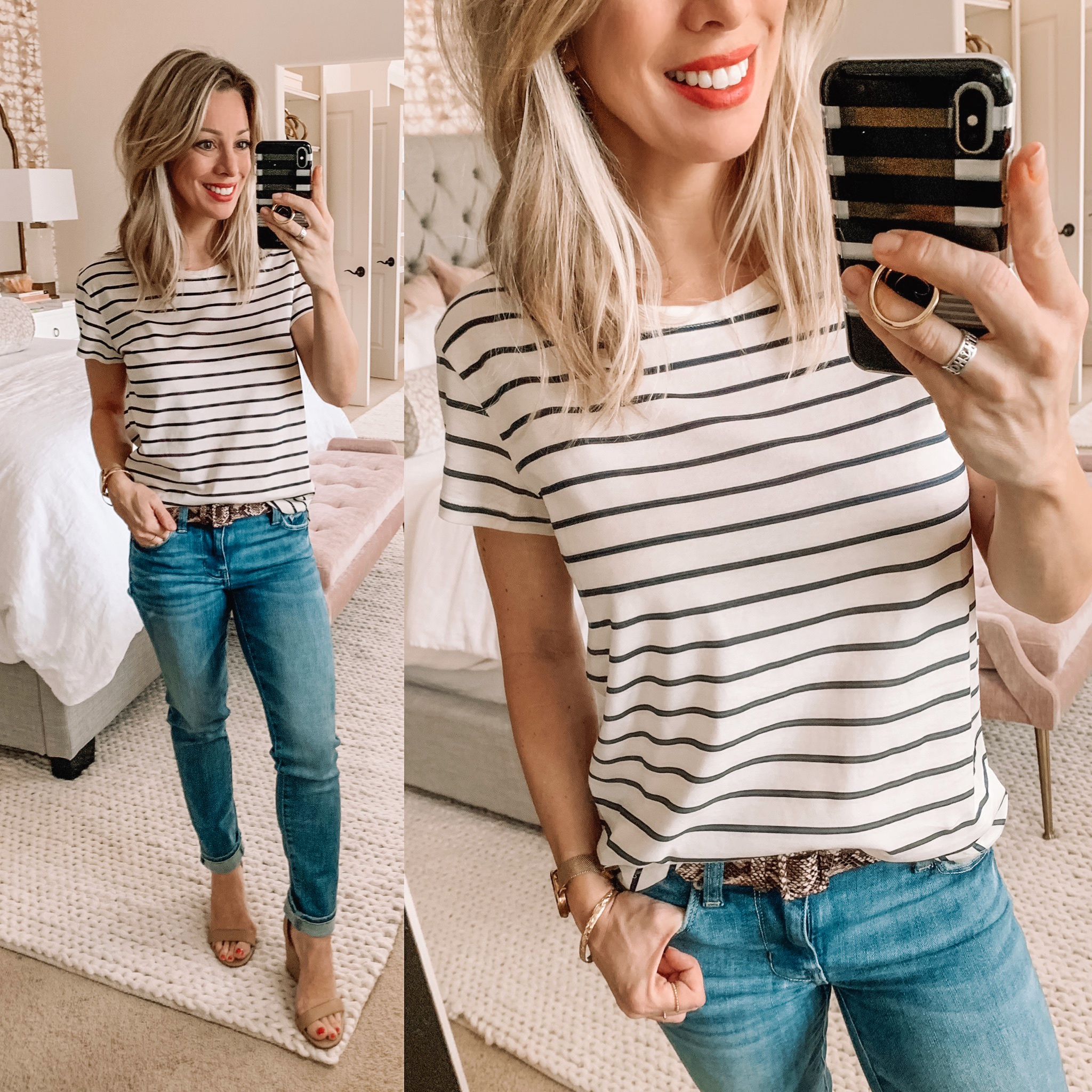 Stripe tee and skinny jeans