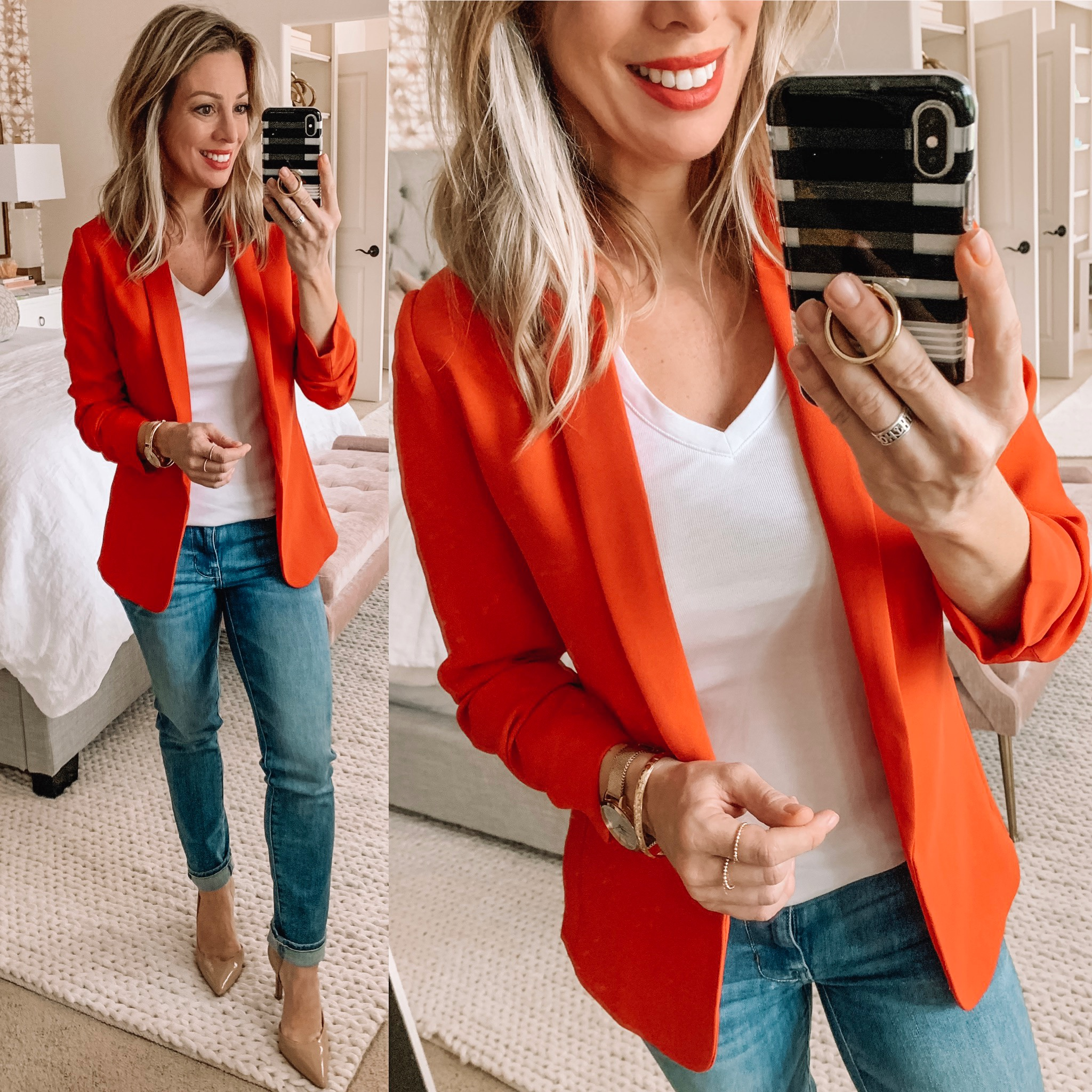 Red blazer light wash skinny jeans and nude heels