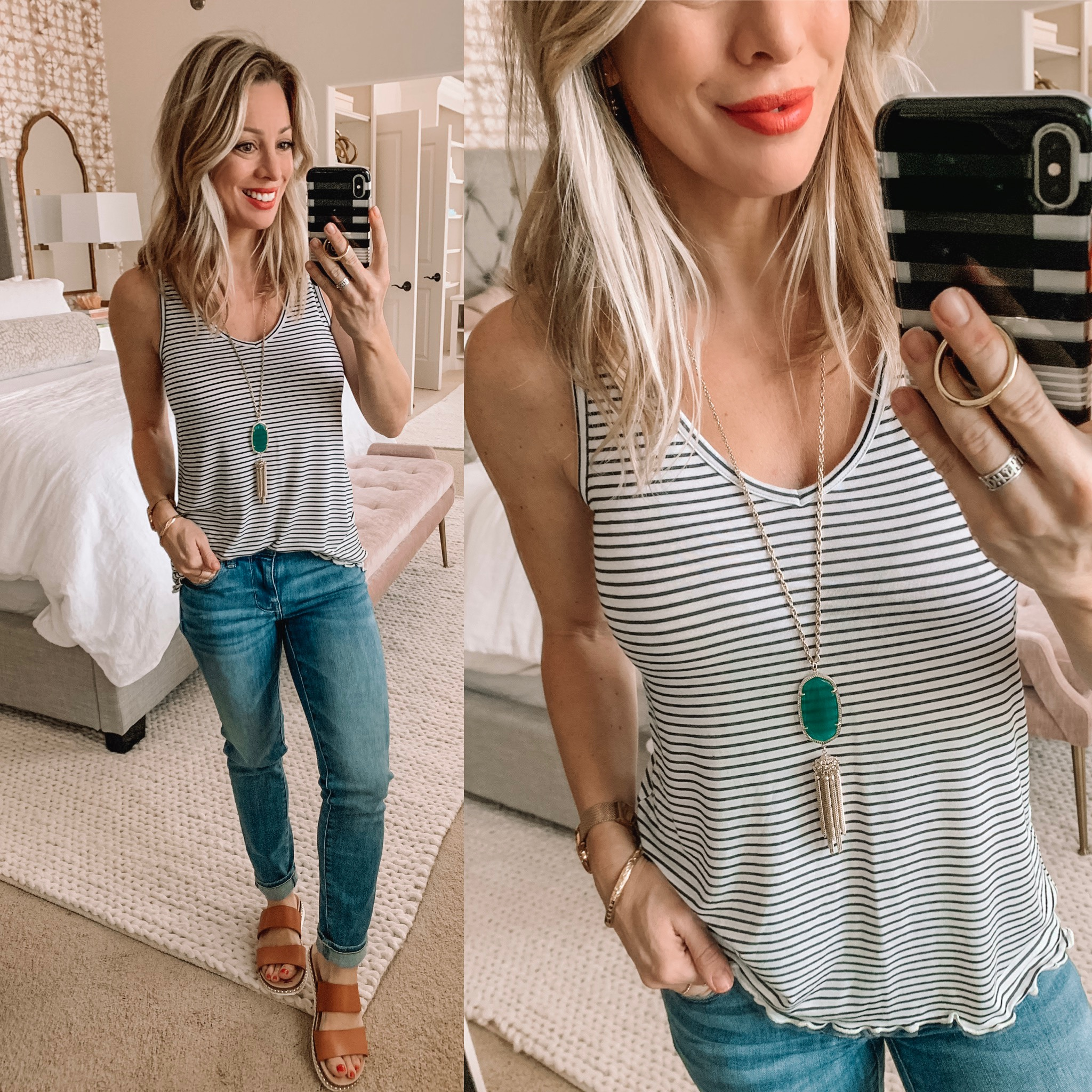 Stripe tank skinny jeans and sandals