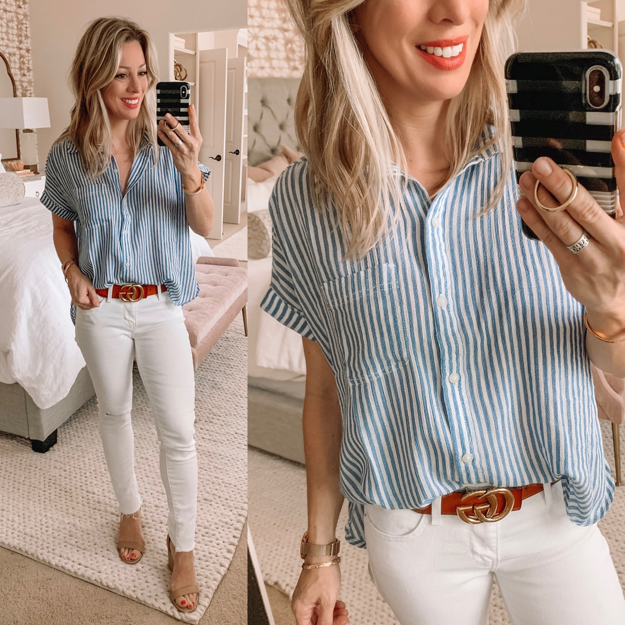 blue button down top and white jeans