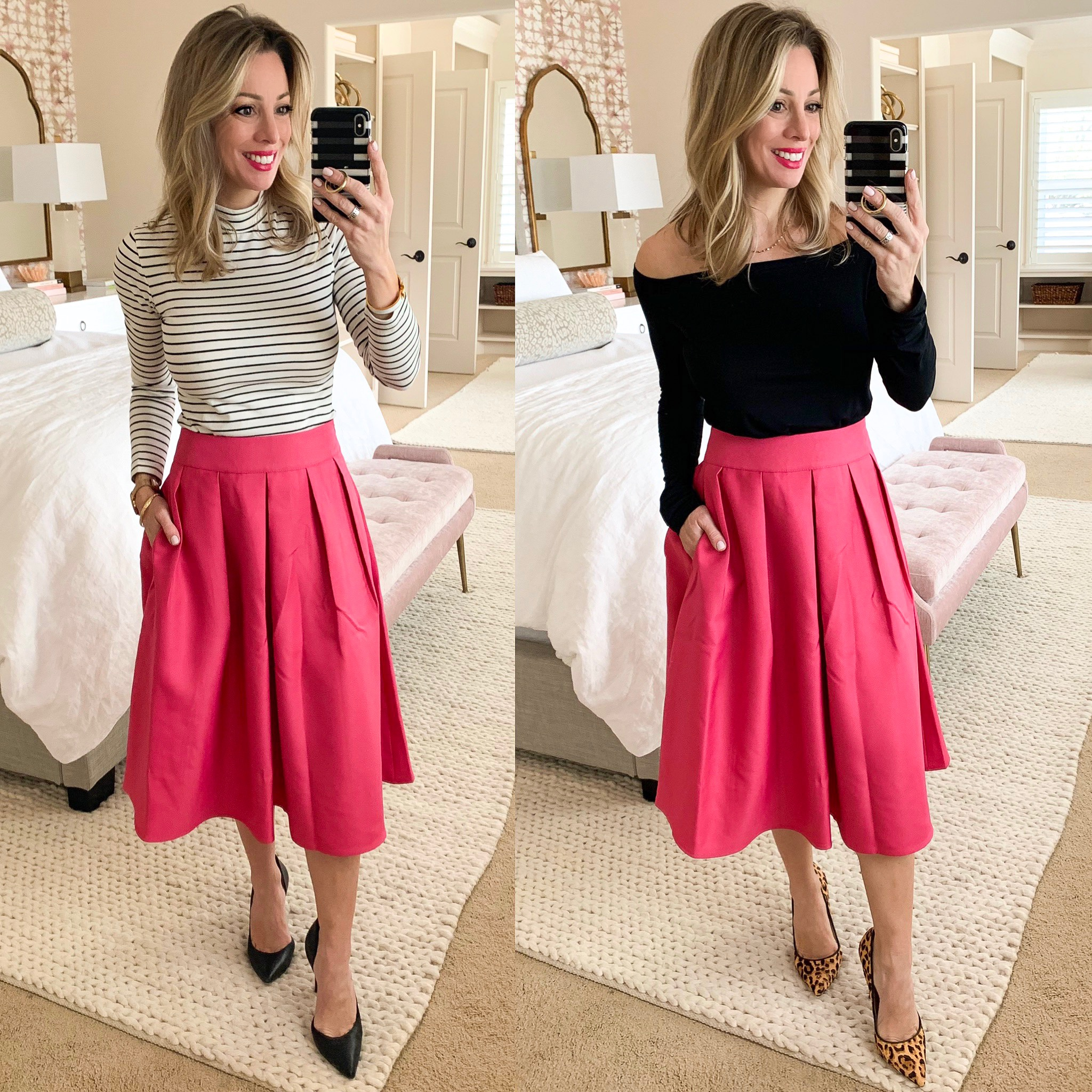 pink midi skirt styled two ways