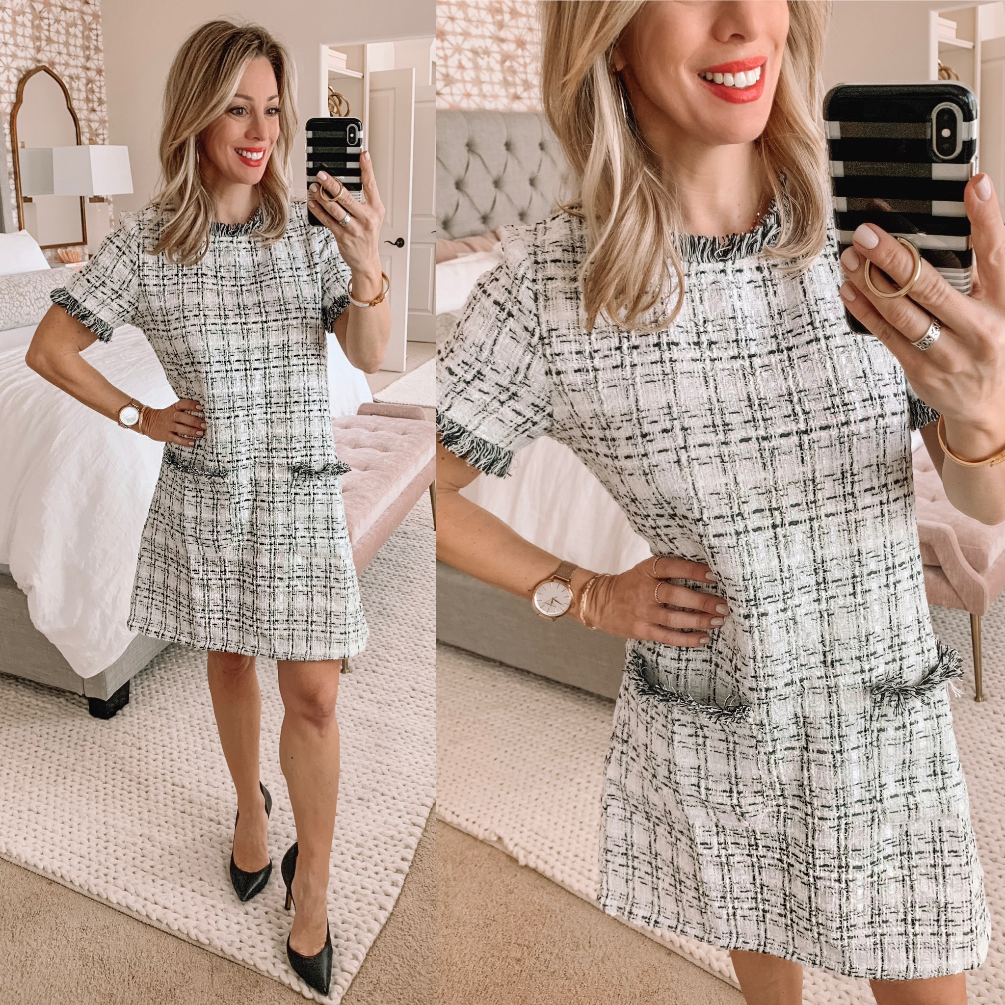 white tweed shift dress