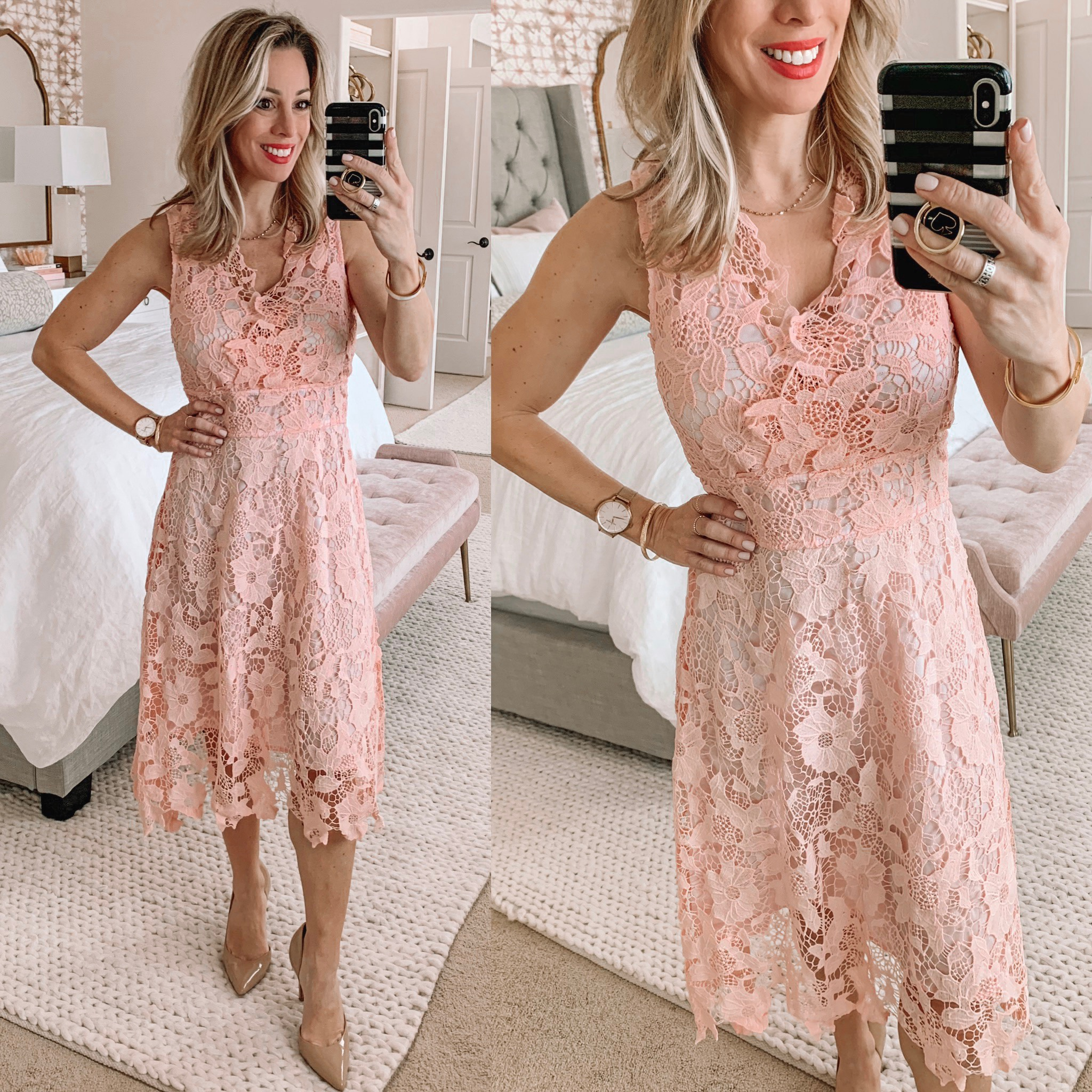 Pink Crochet overlay dress