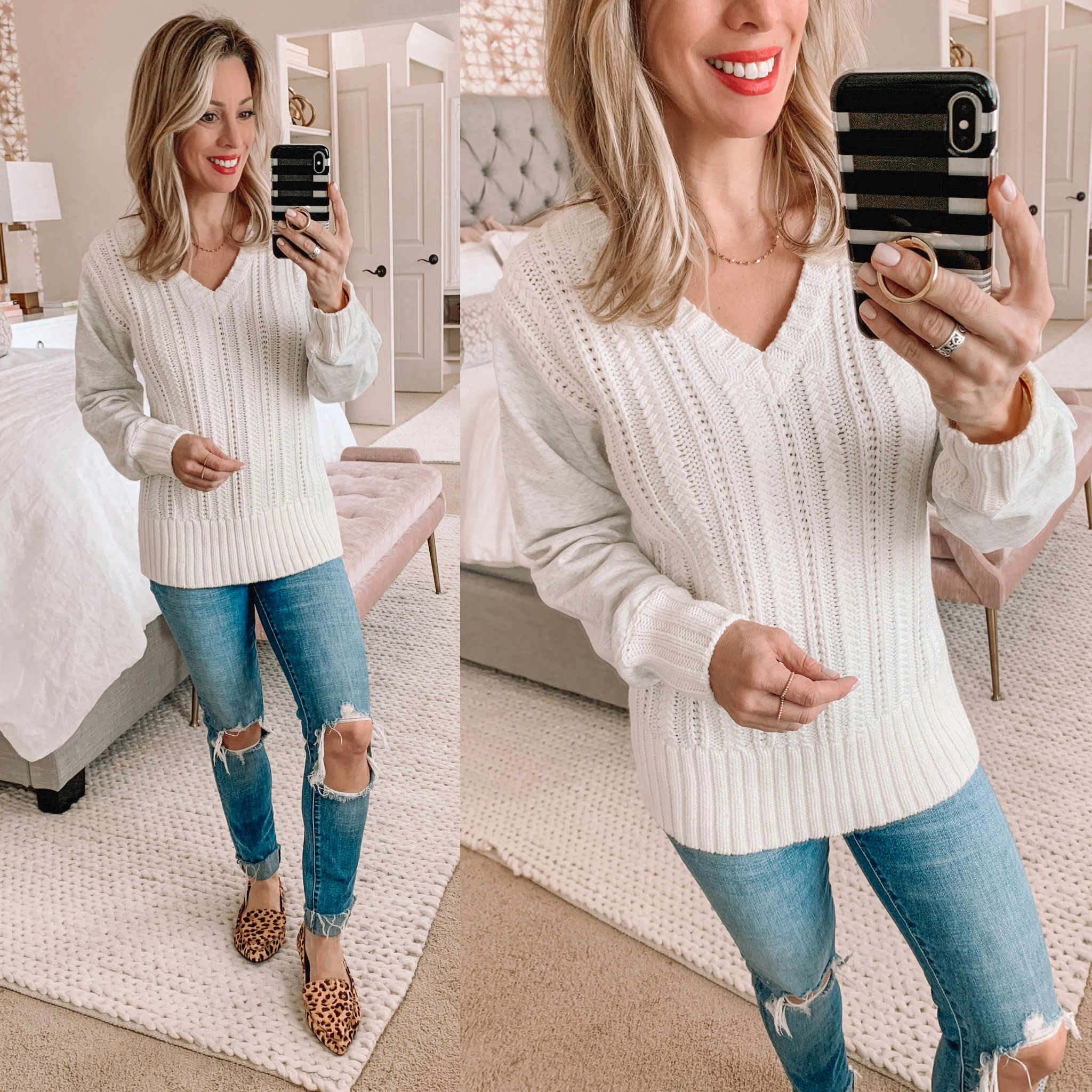 white sweater ripped jeans and leopard flats