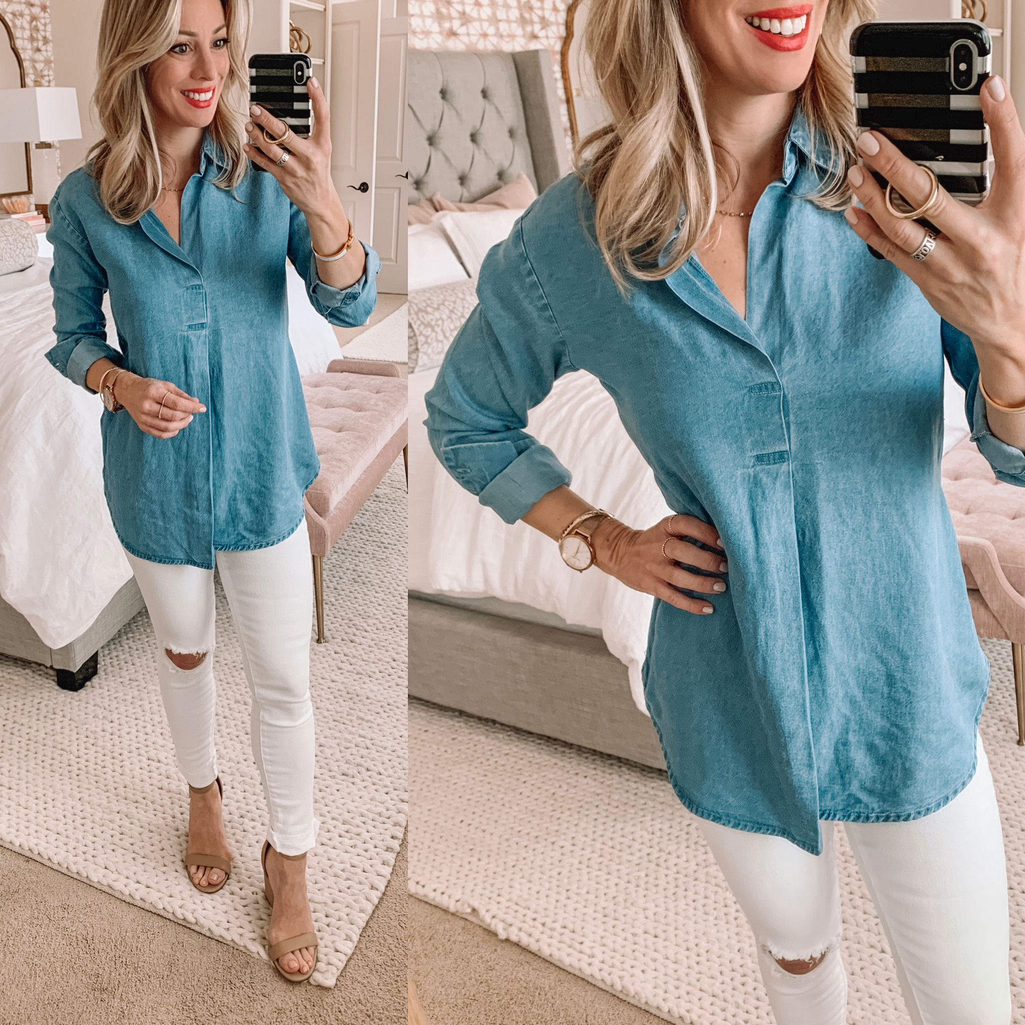 Chambray Pullover with white ripped jeans