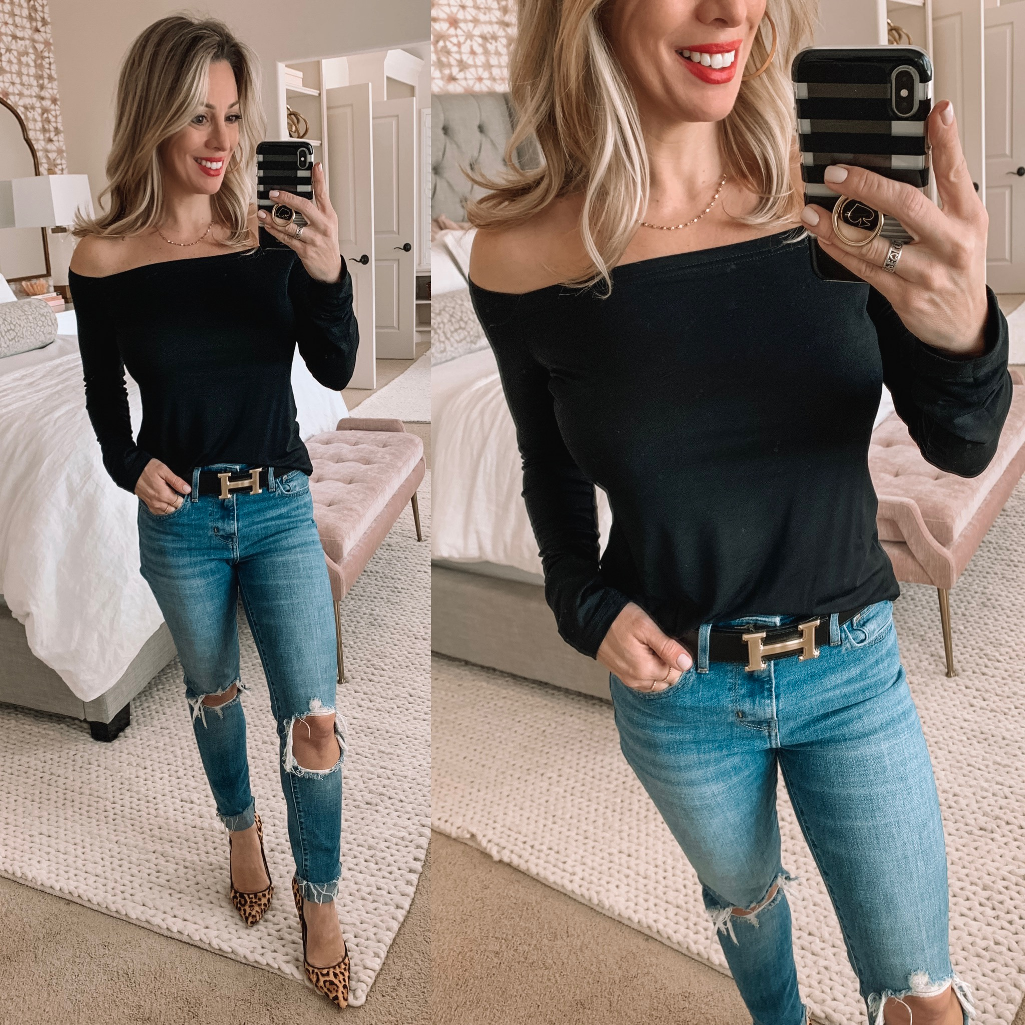 Night out outfit - black off shoulder top, ripped jeans and leopard heels