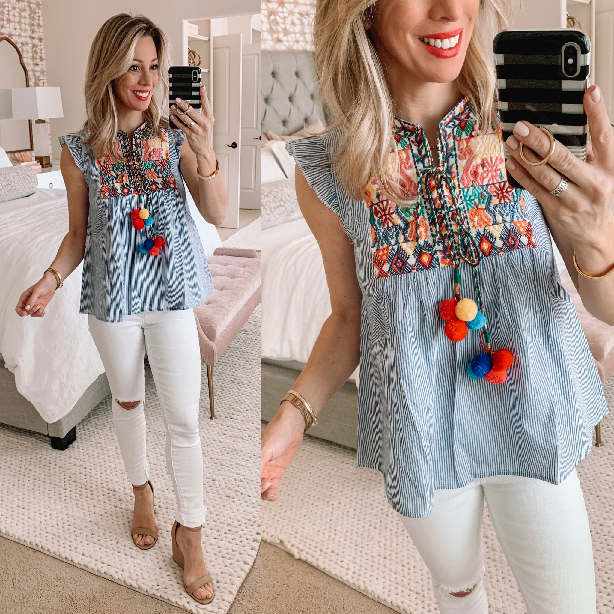 Cute Spring/Summer outfit - white jeans with embroidered top and pom poms