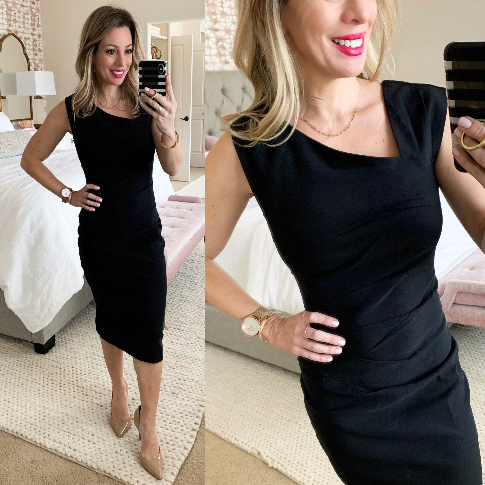 little black sheath dress with asymmetric neckline