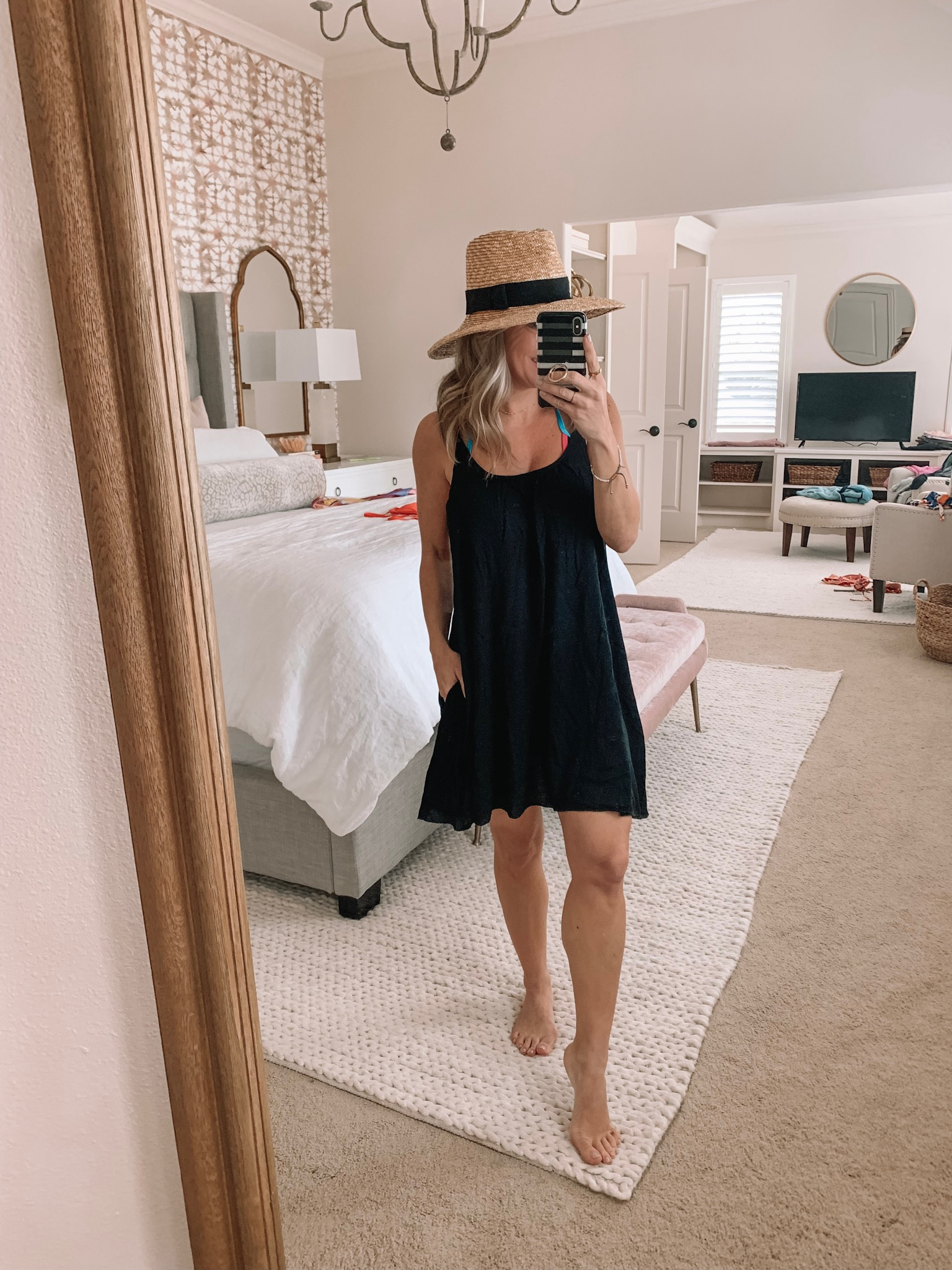 black swimsuit cover up dress
