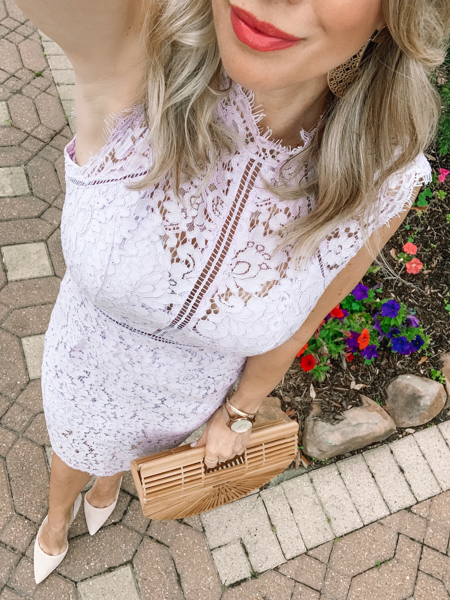 lace crochet dress lilac