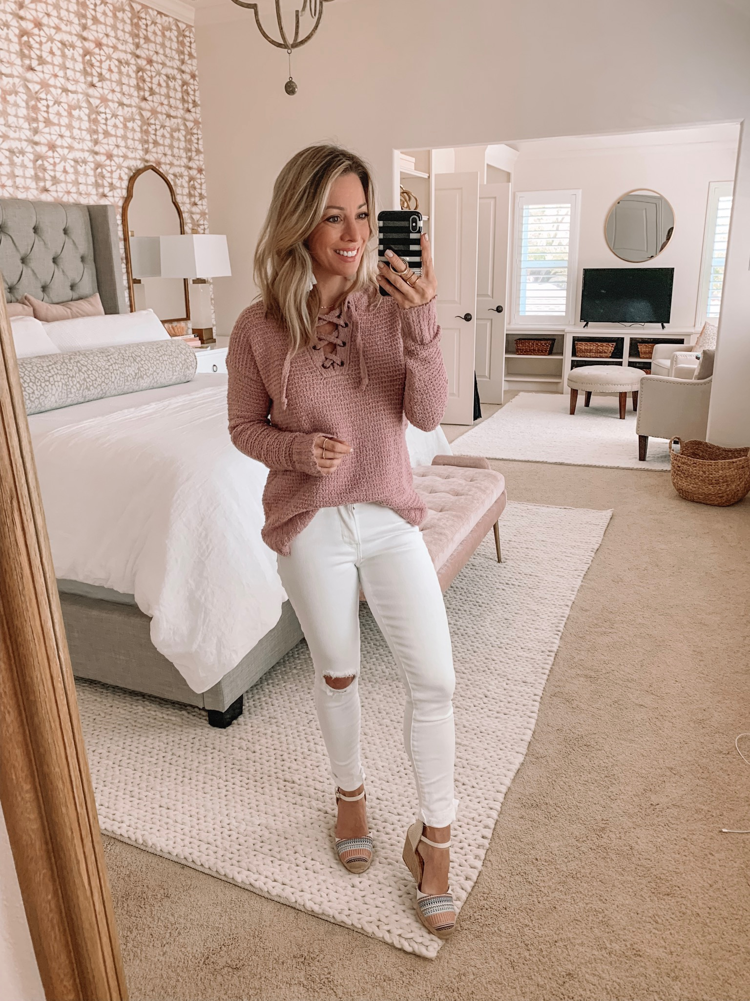 lace up sweater with white jeans and espadrilles