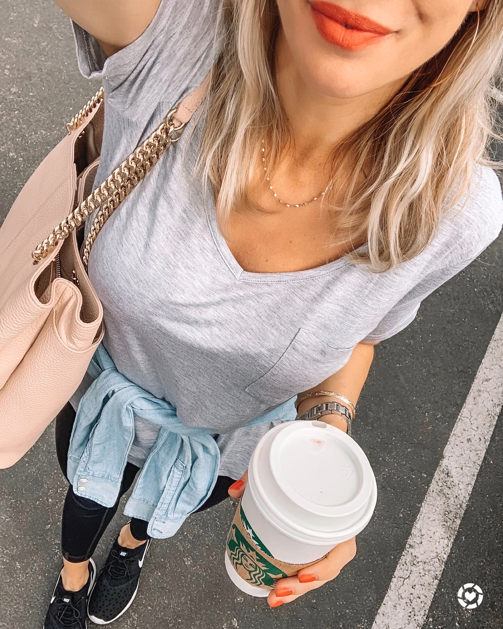 Grey tee and leggings