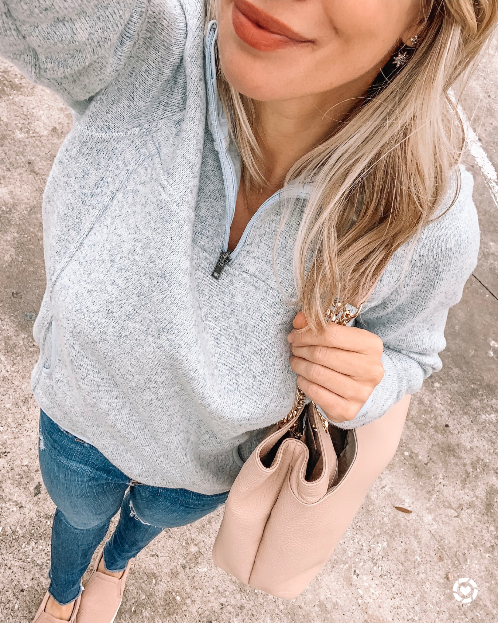 Zip pullover and jeans