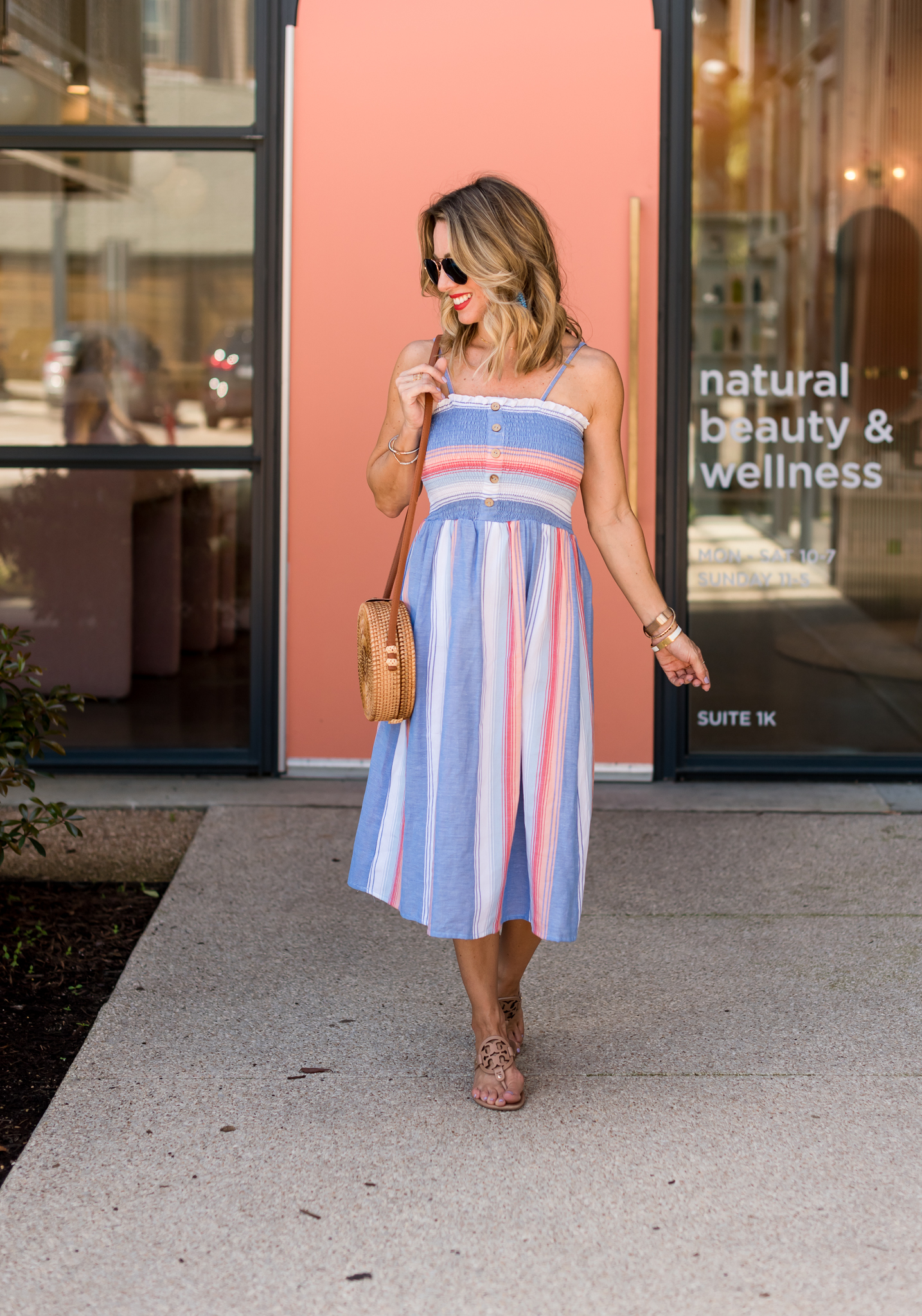 striped dress and Tory Burch Miller Sandals