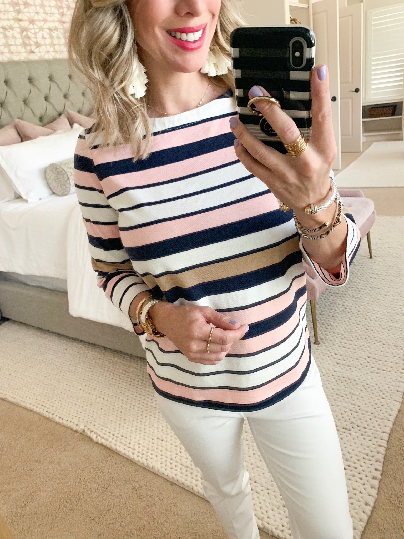 striped top white pants