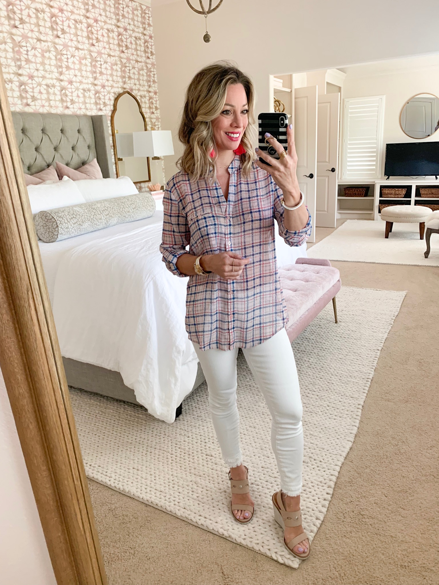 white jeans and plaid button down top