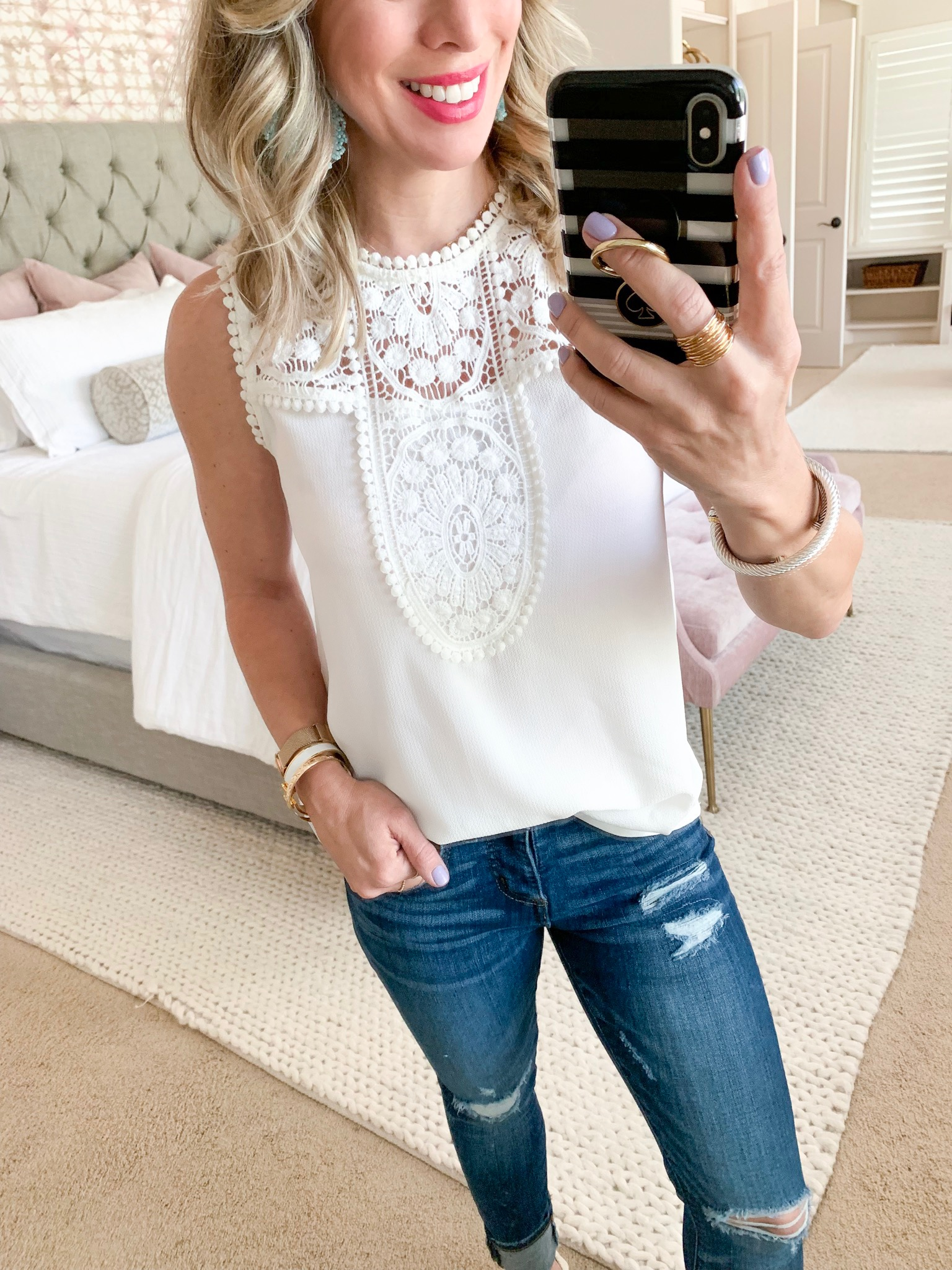 white crochet tank and distressed jeans