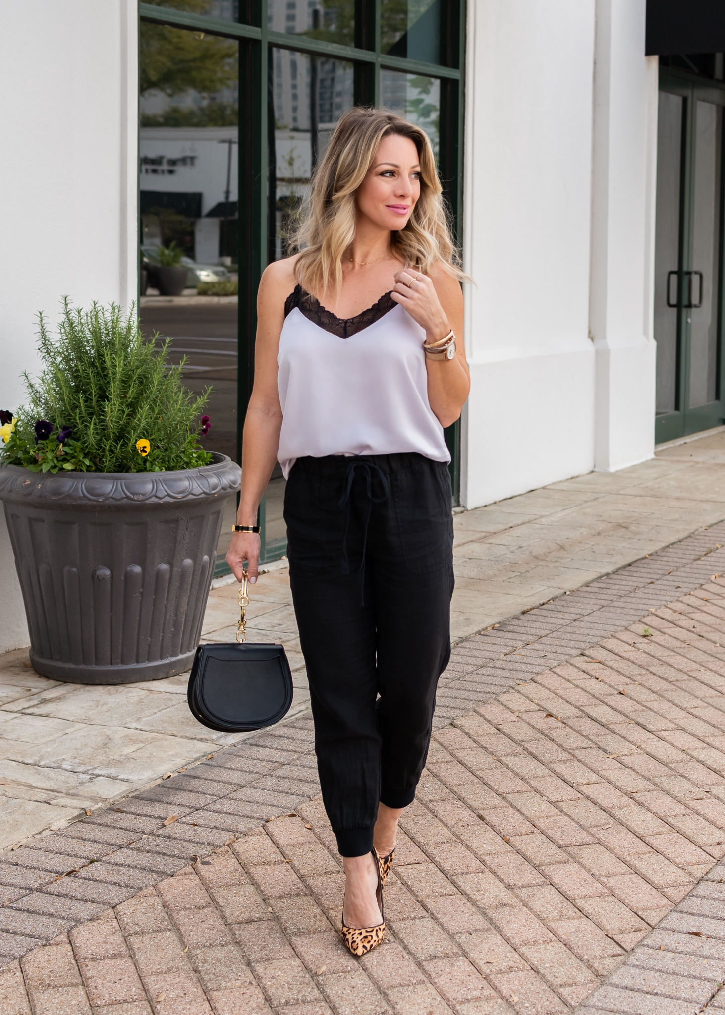 Lace trim camisole and black joggers