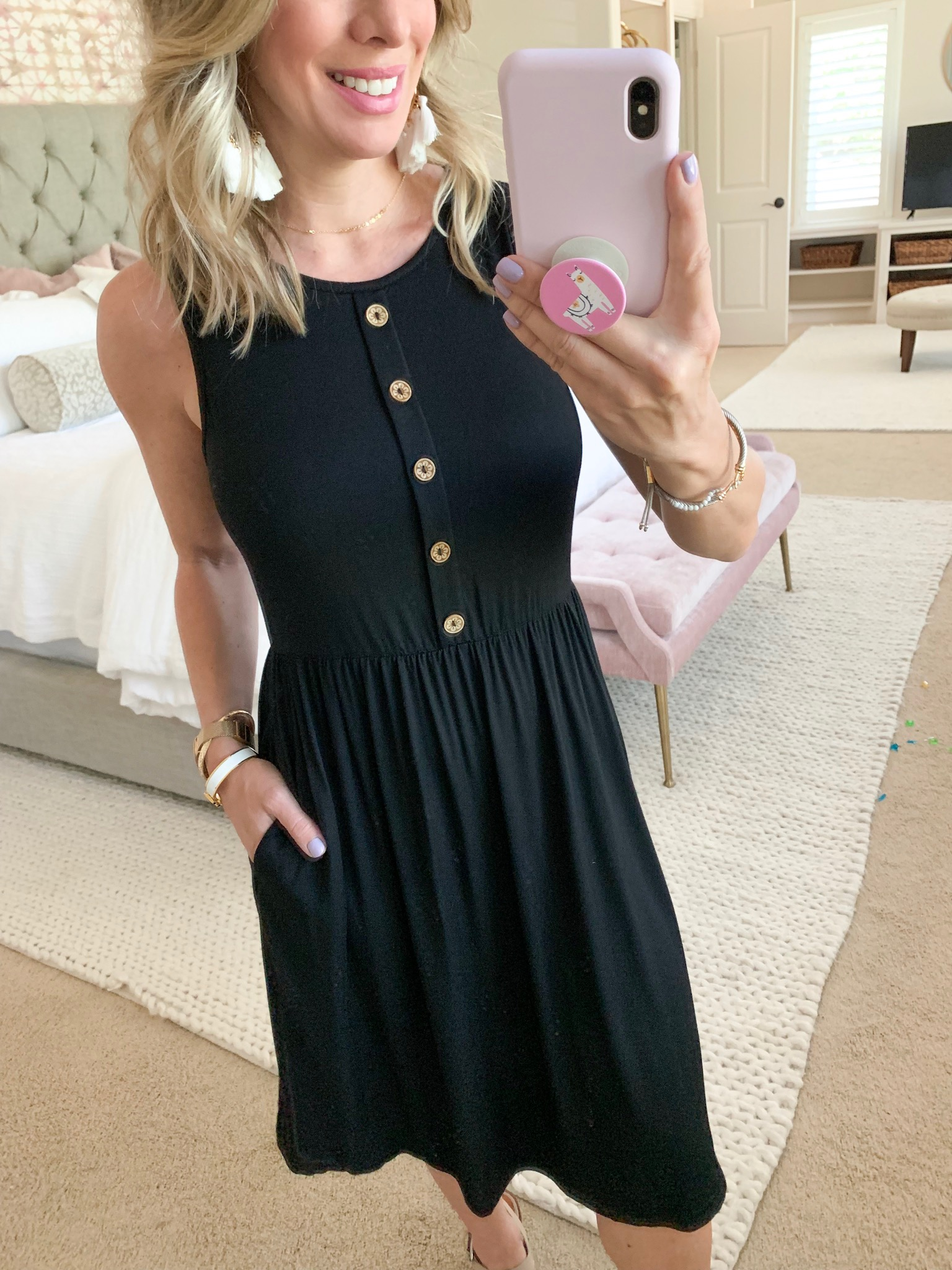 black tank dress with buttons
