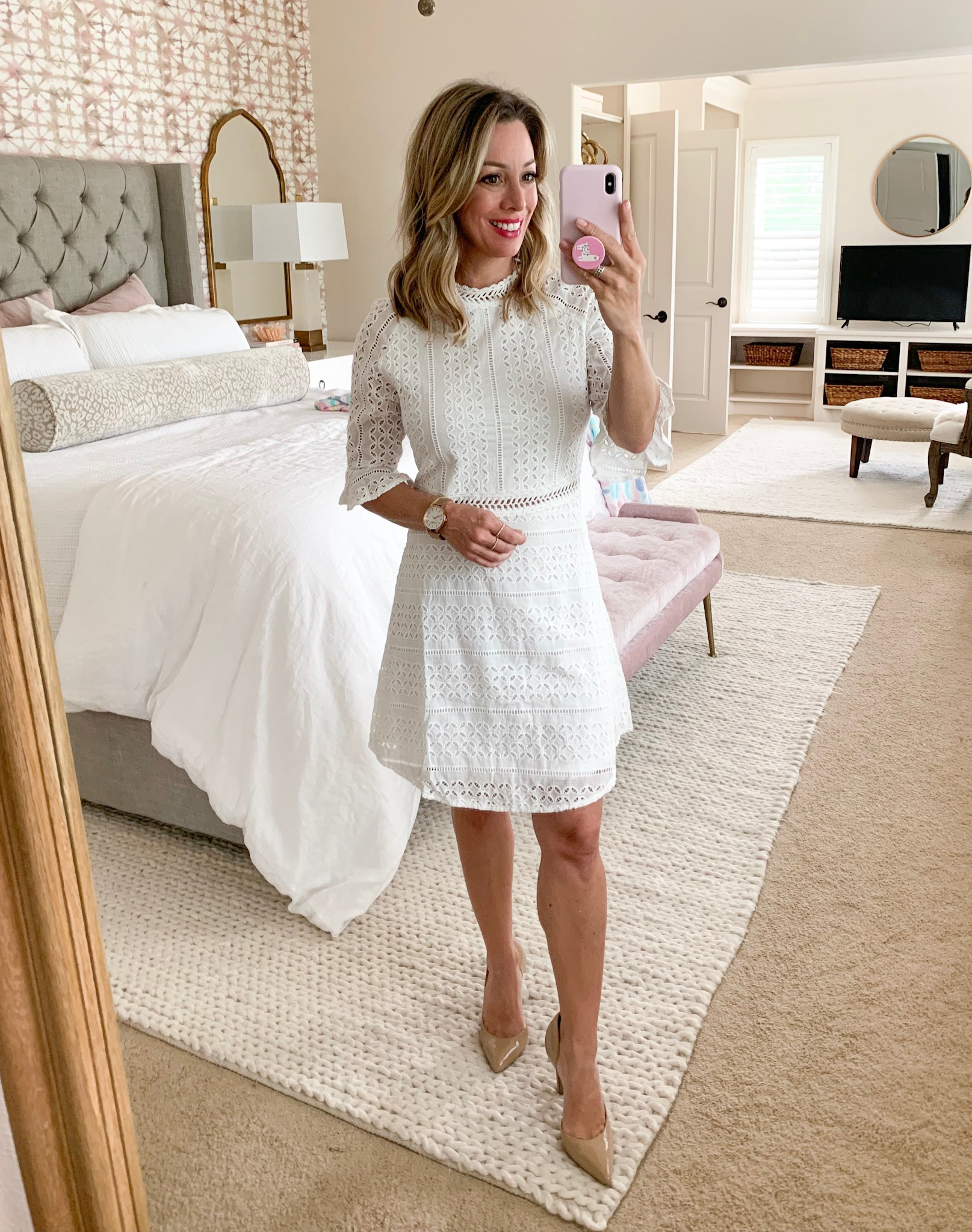 Amazon white crochet dress