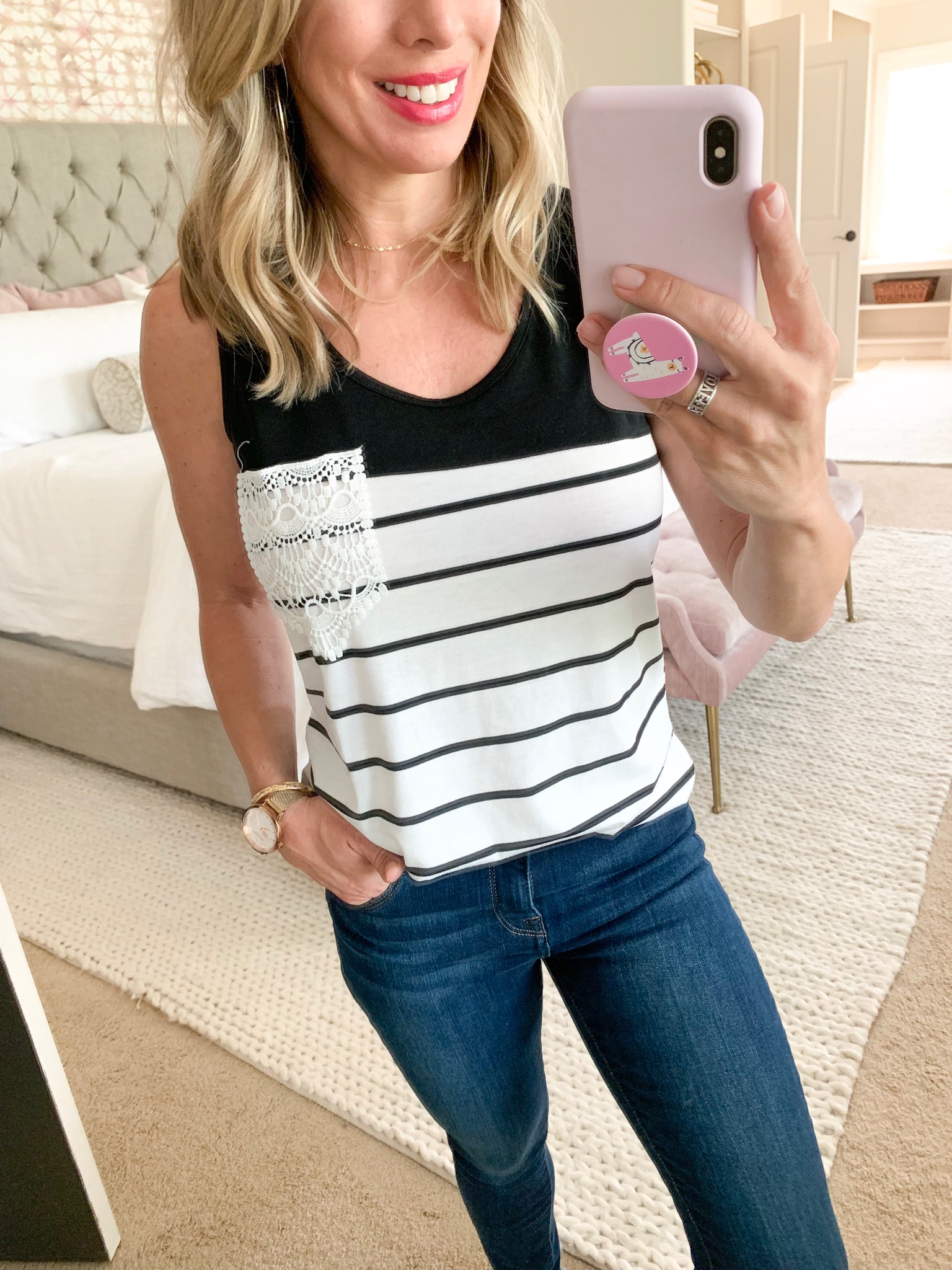 Amazon striped tank with lace pocket