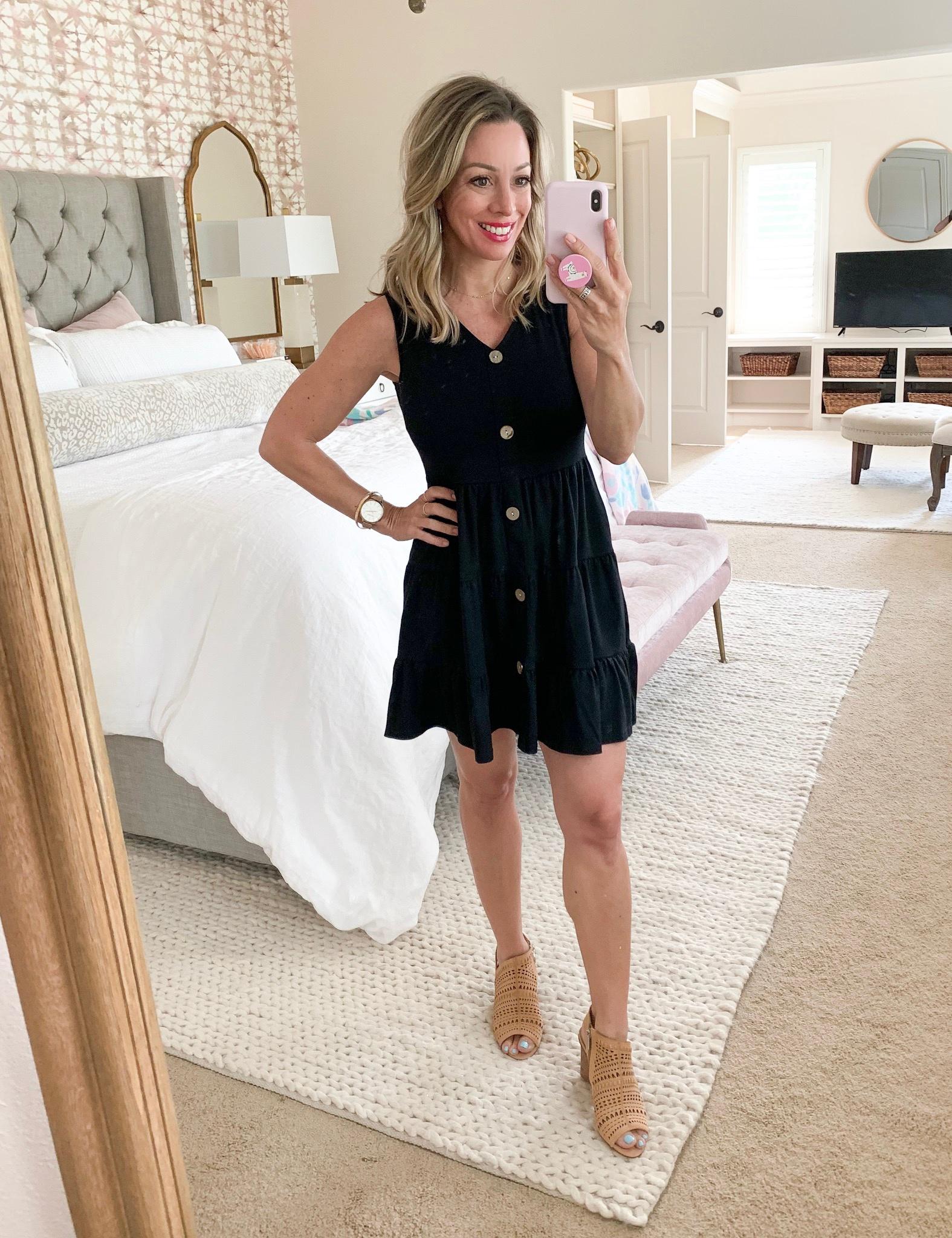 Amazon black button front dress