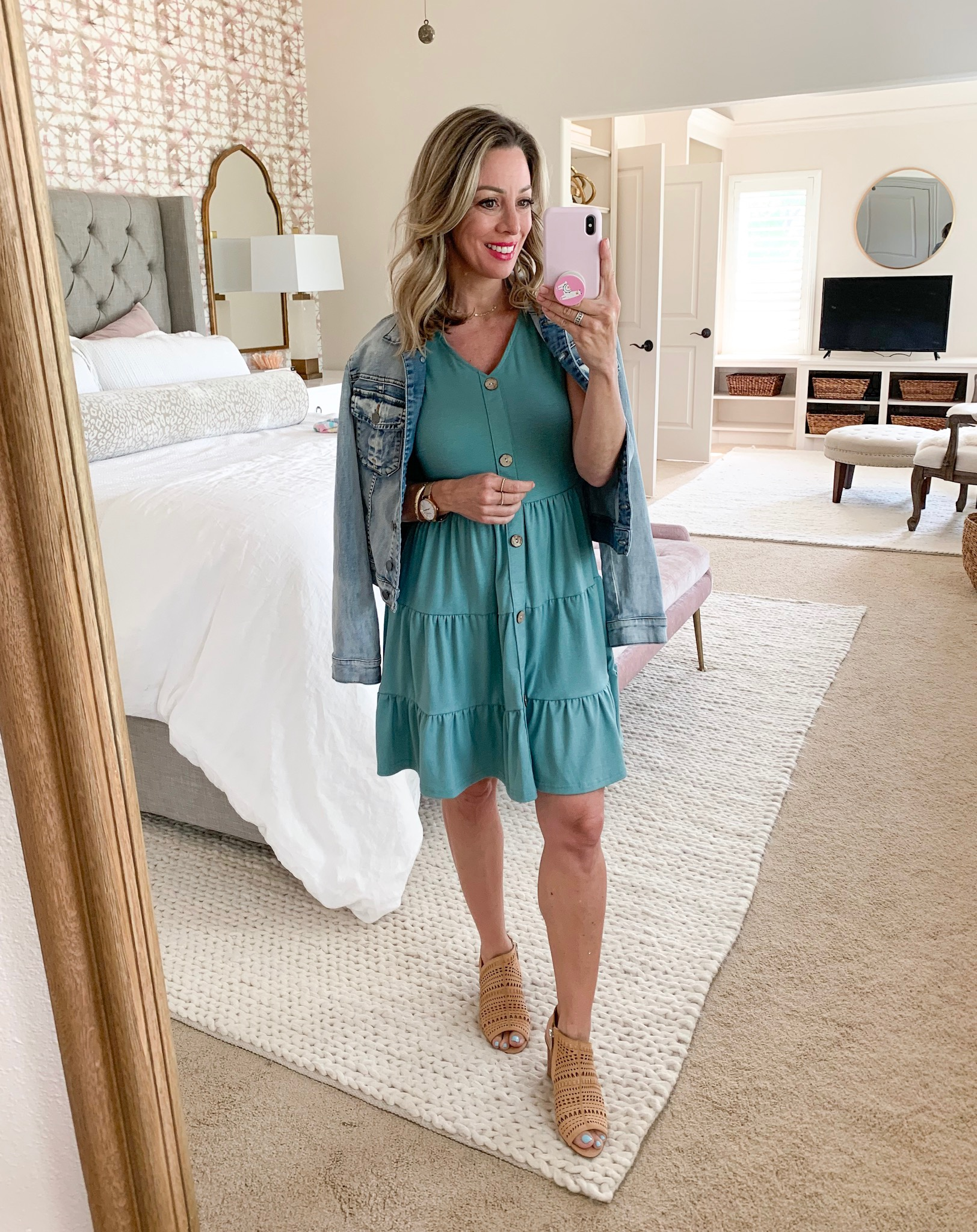 Amazon teal button front dress