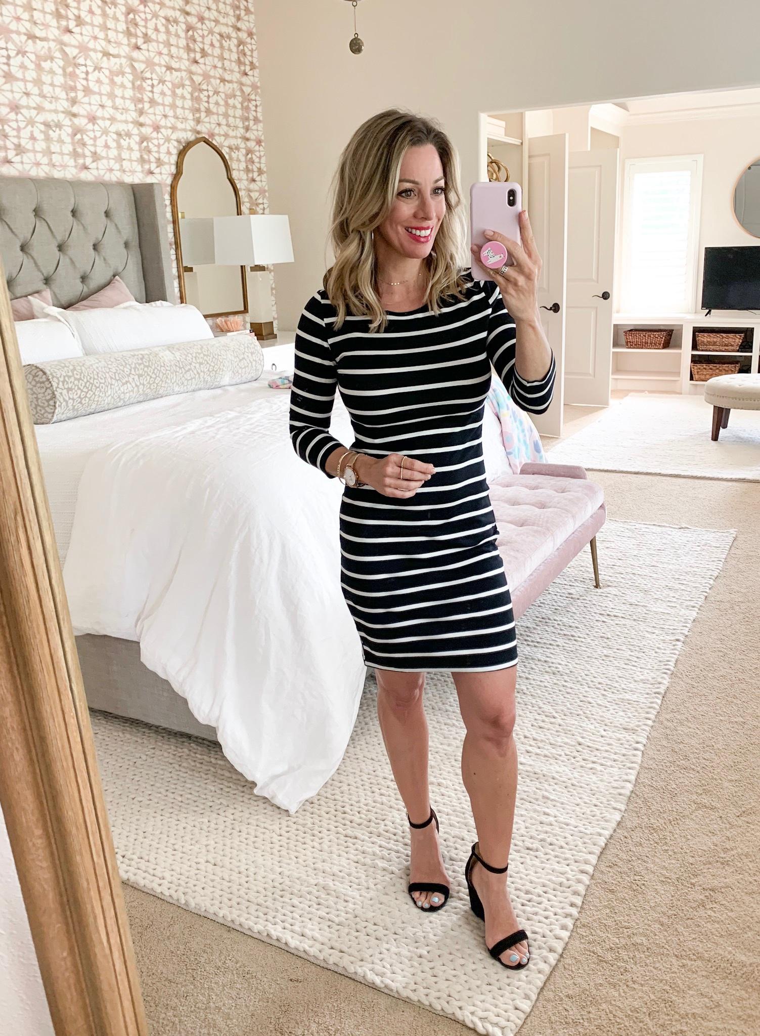 Amazon striped bodycon dress