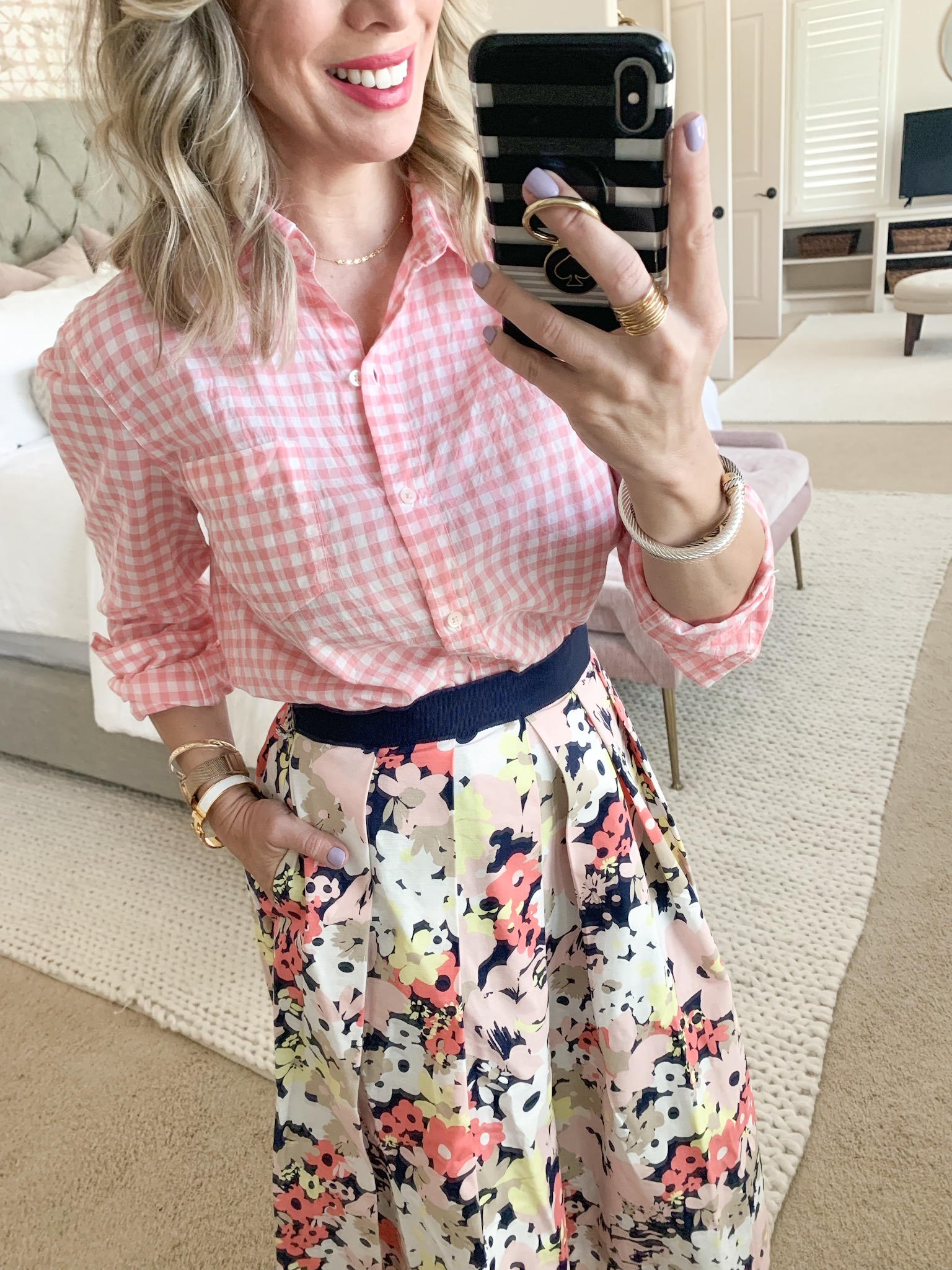floral skirt and gingham button down top