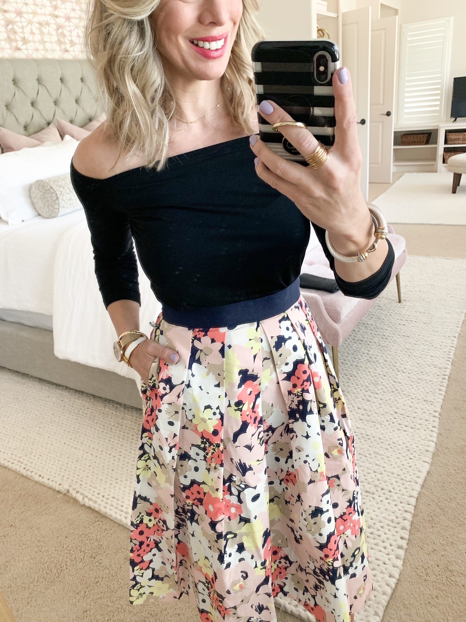 floral skirt with off shoulder top