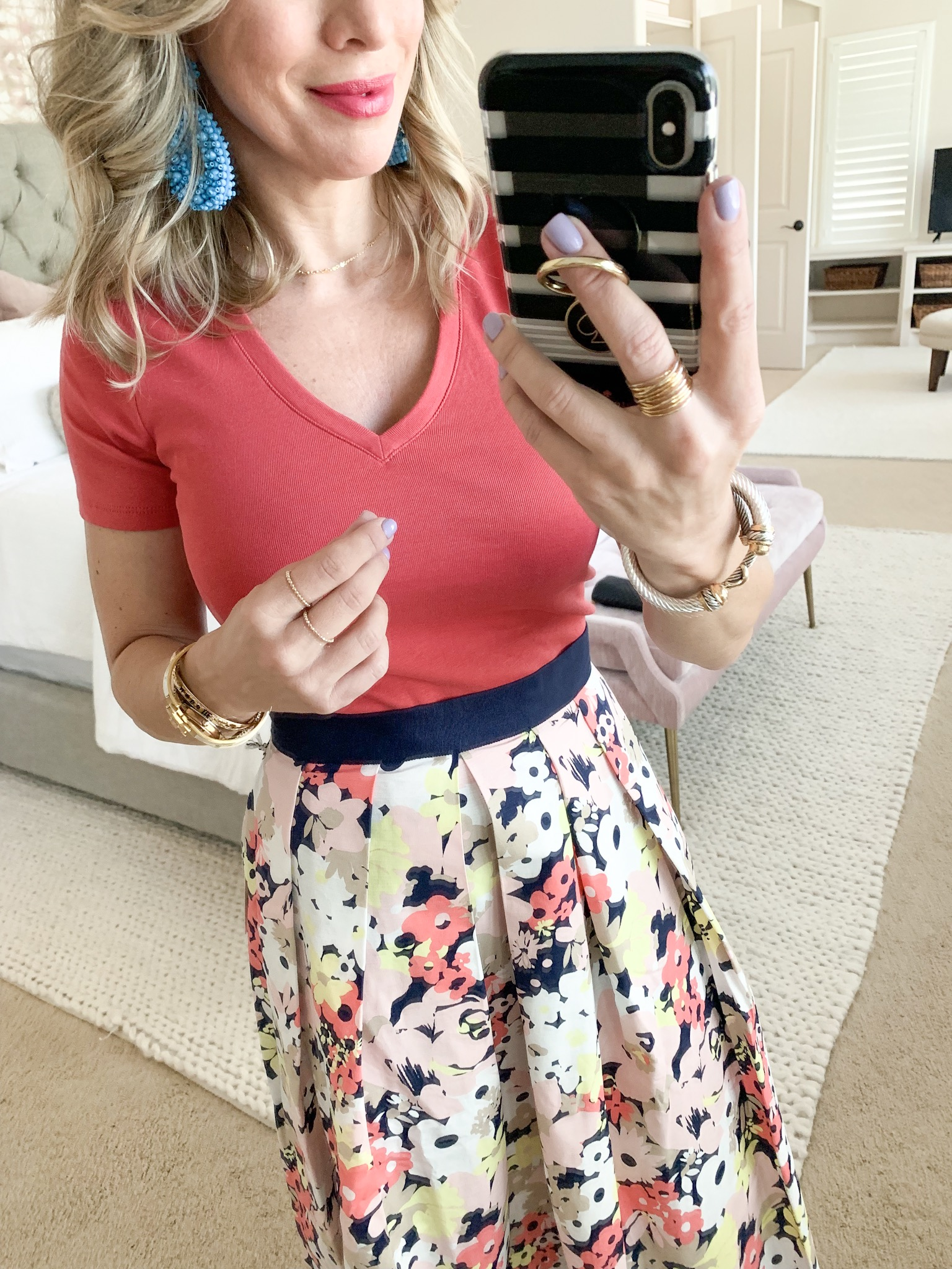 floral skirt with pink v-neck tee