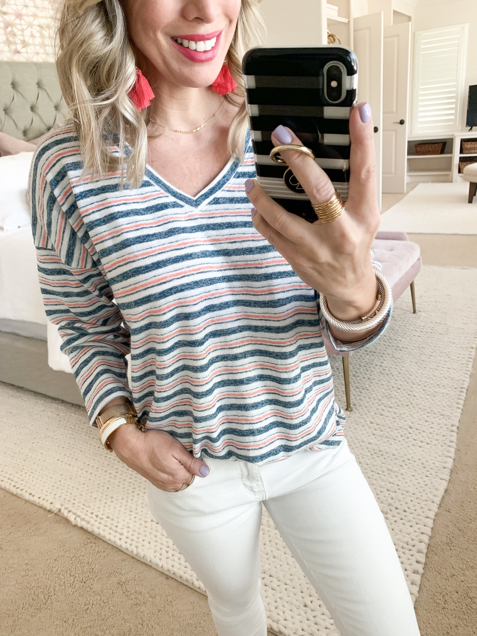 White jeans and stripe pullover