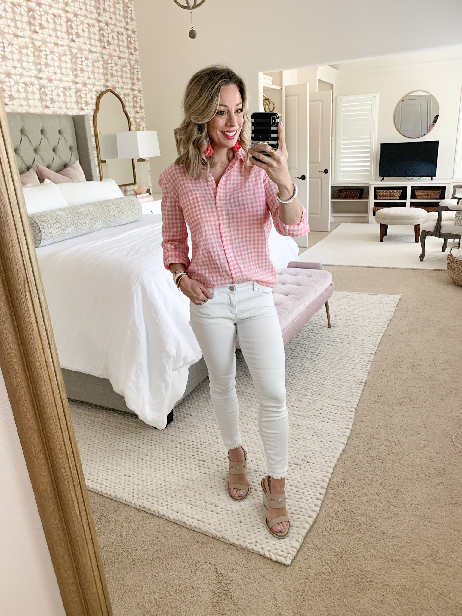 White jeans and pink gingham button down