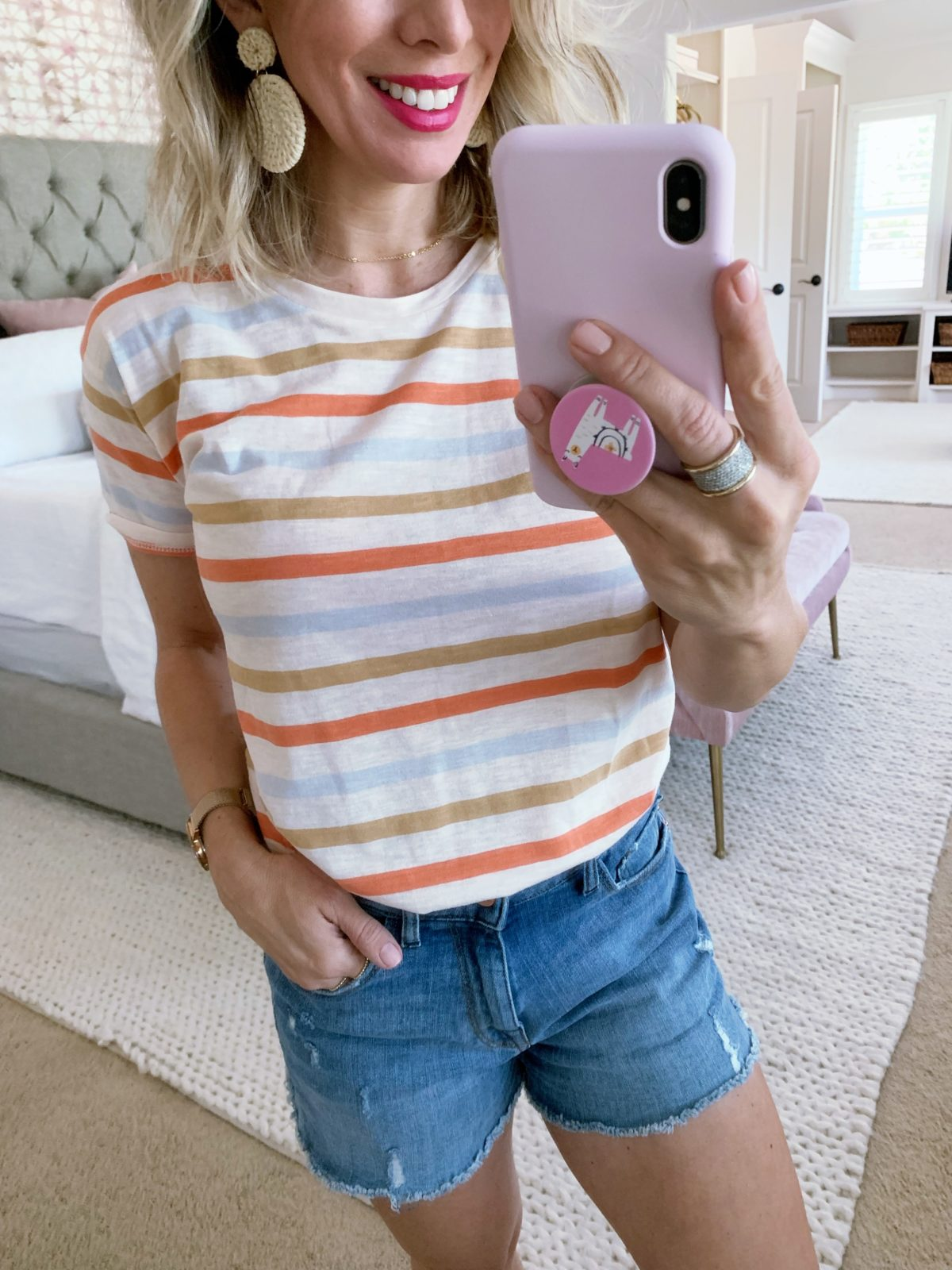 Madewell striped tee and jean shorts