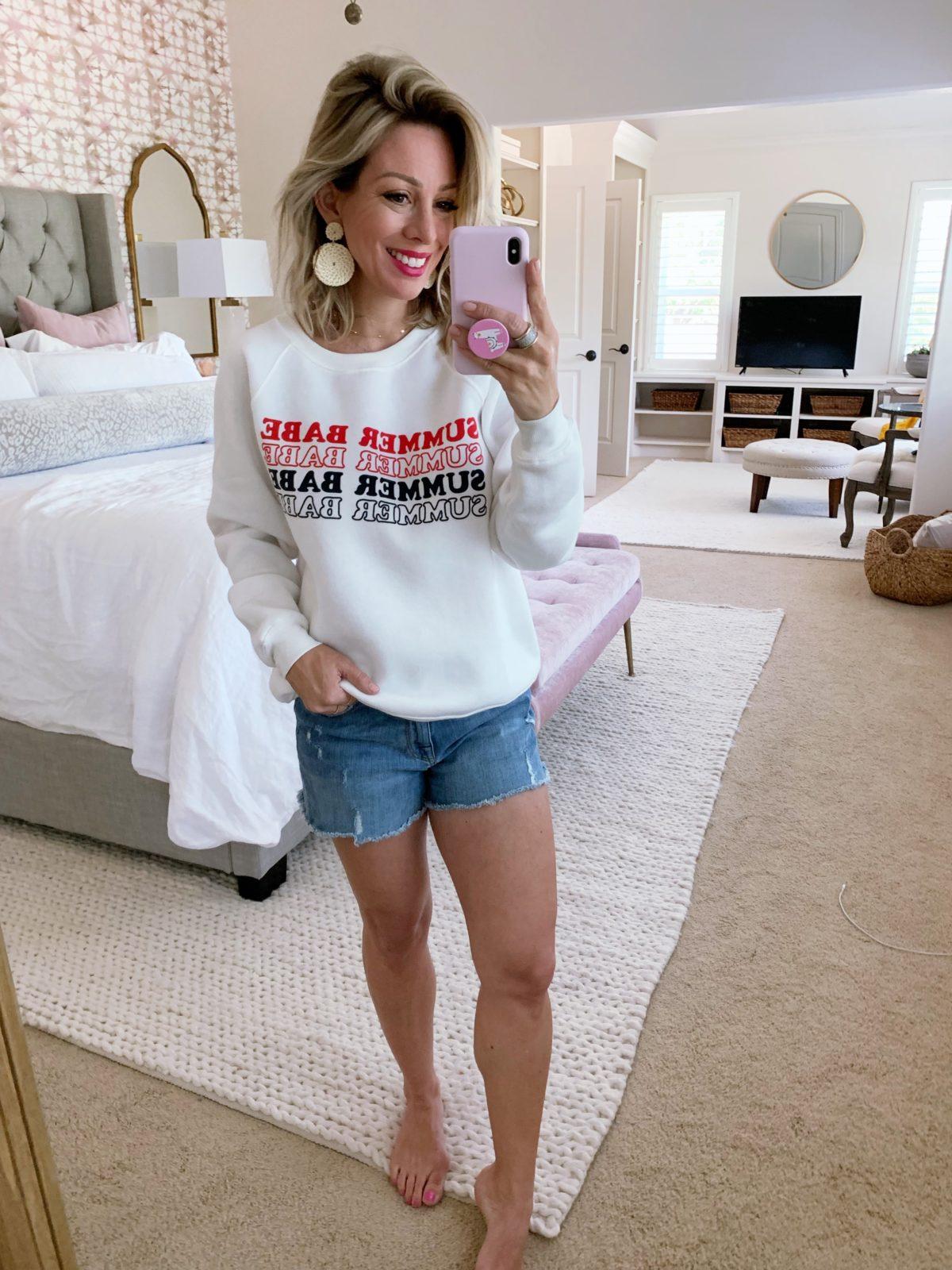 summer sweatshirt and jean shorts