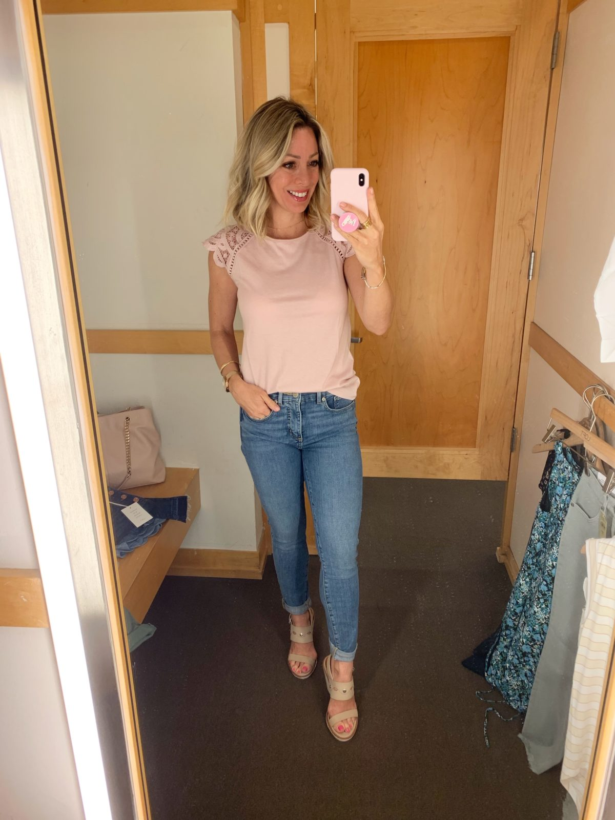 Modern Soft Skinny Jeans and pink lace sleeve top