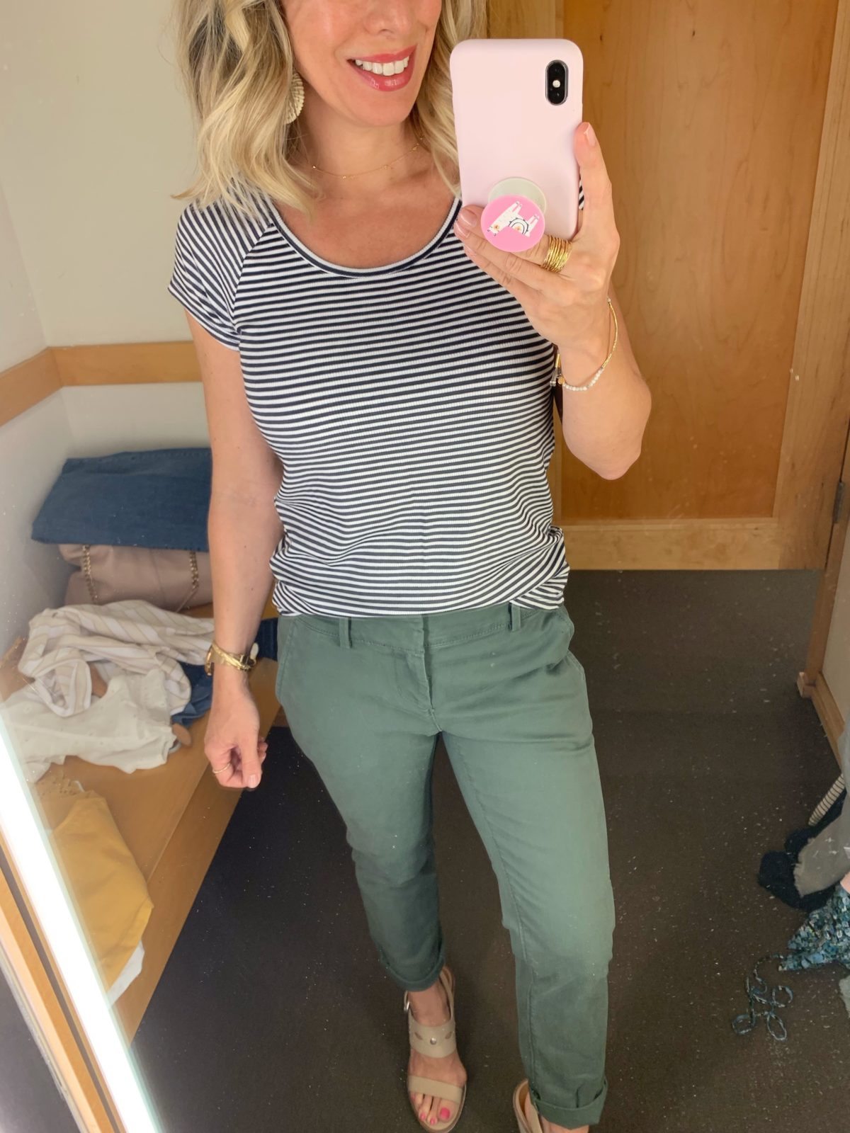 Chinos and striped top
