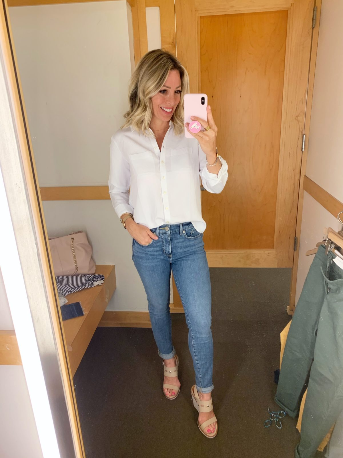 Modern Soft Skinny Cropped Jeans and white button down top
