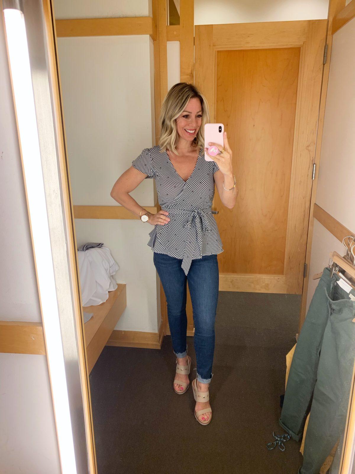 dark wash skinny jeans and peplum top