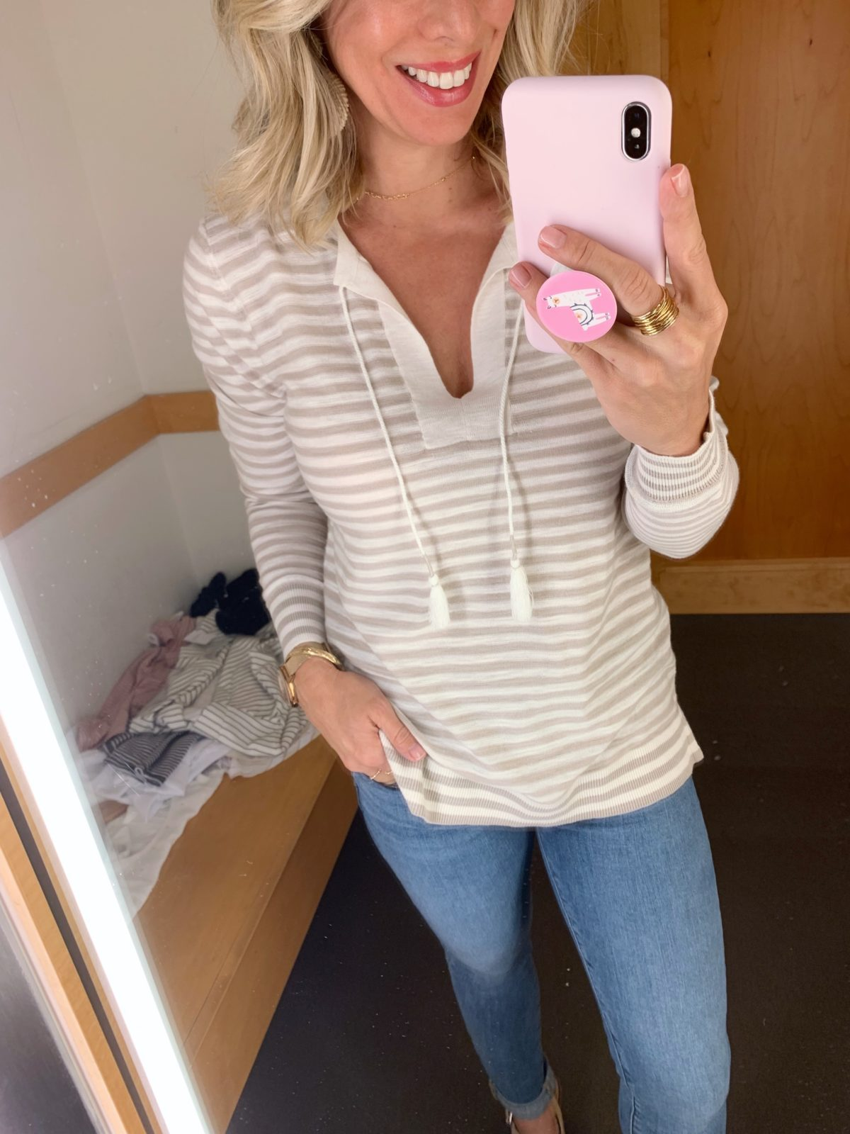 Modern Soft Crop Jeans and striped pullover