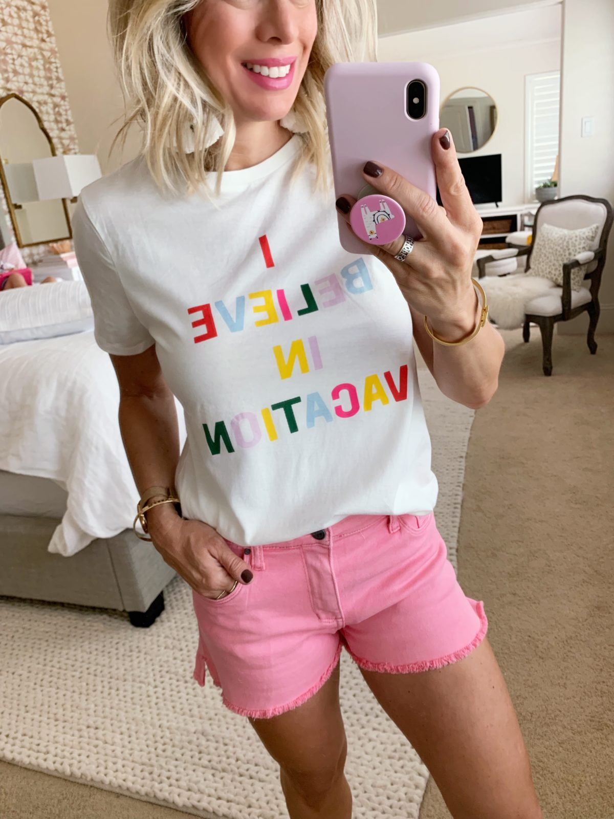 Pink jean shorts and vacation tee
