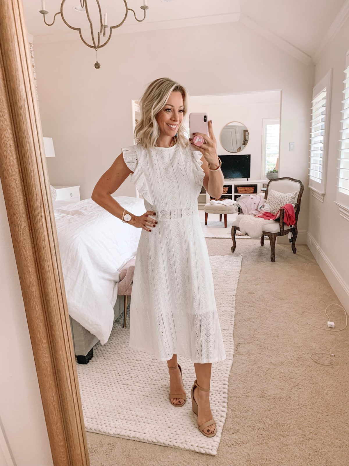 white crochet lace dress