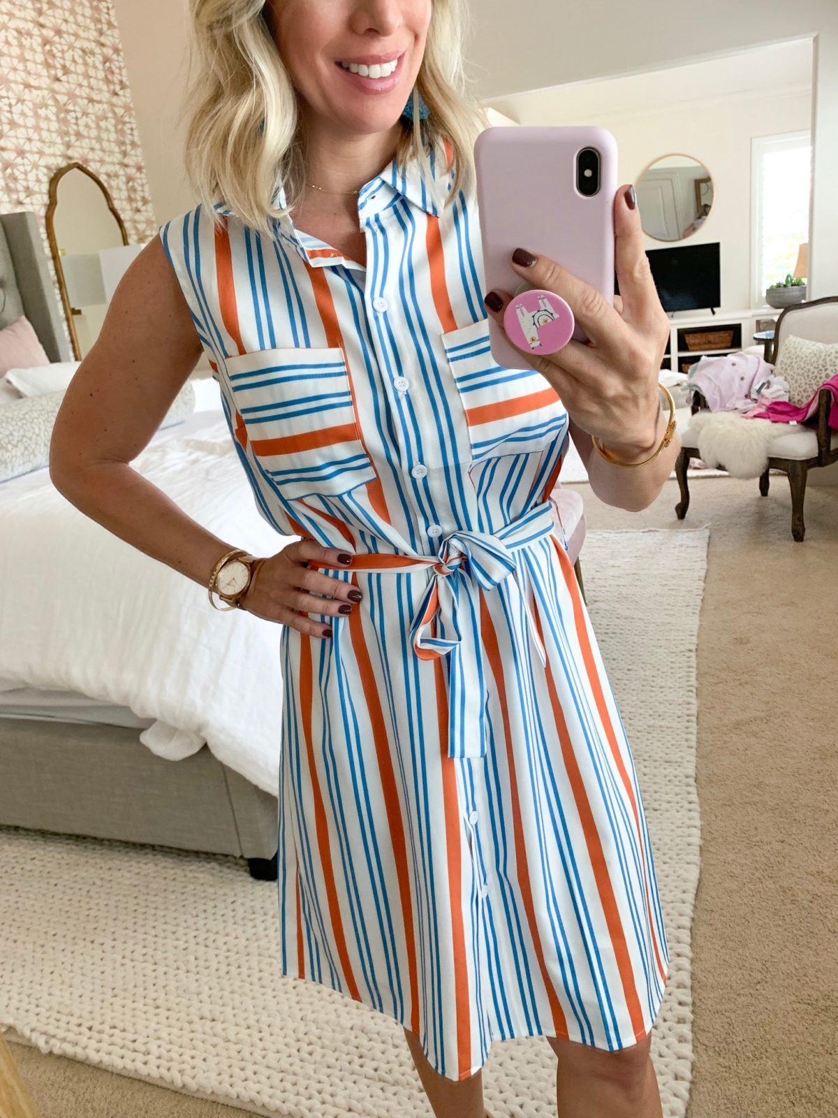 Blue and orange striped shirtdress