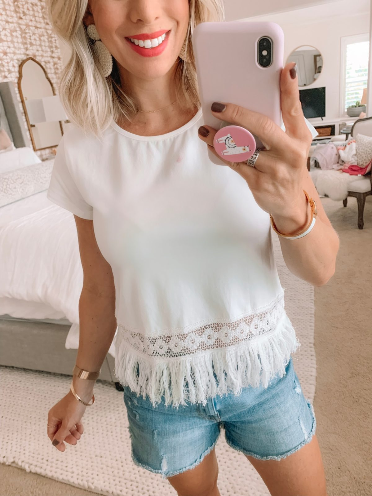 Amazon fashion faves - white fringe top and jean shorts