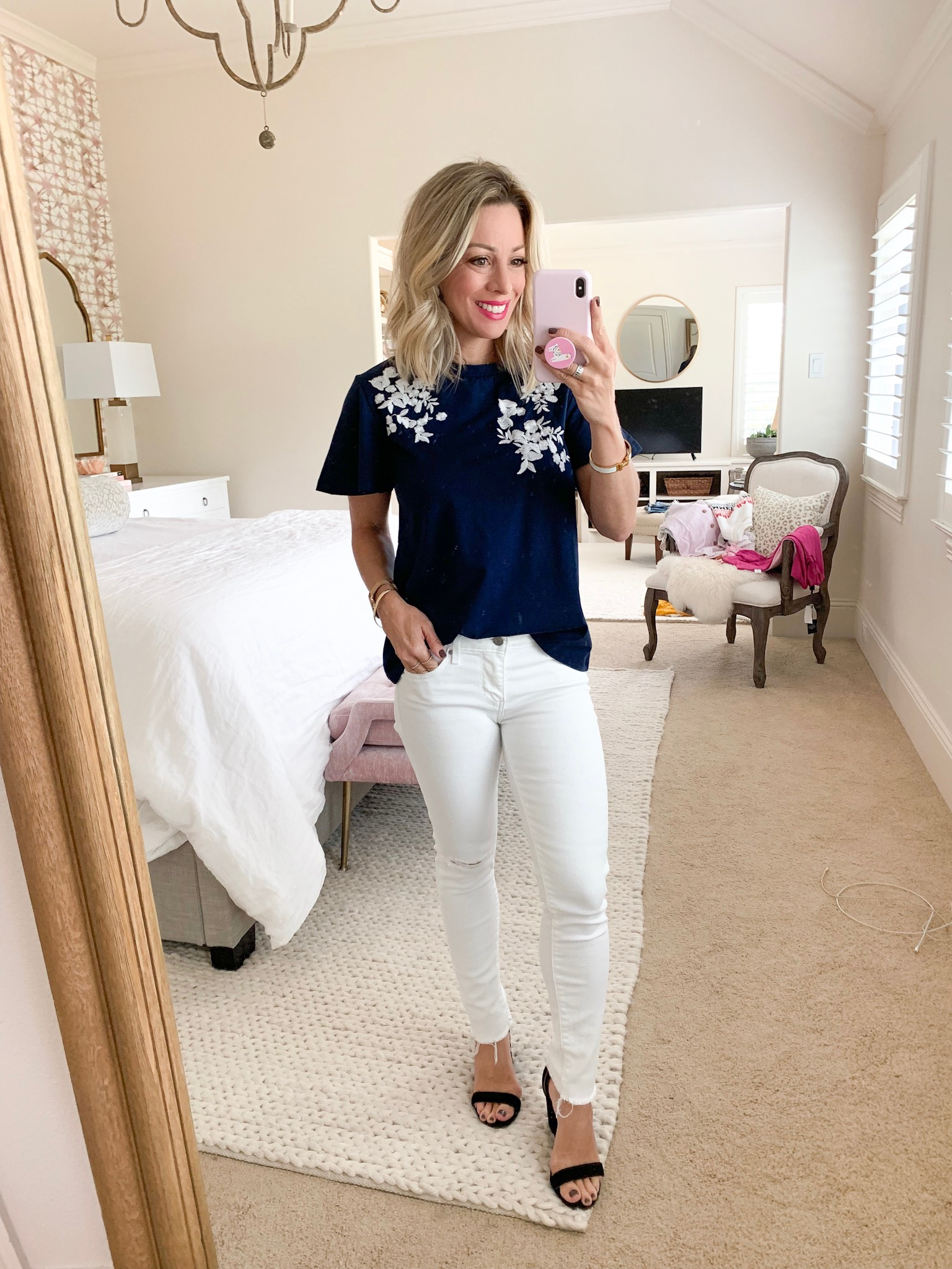484e1871a0c Embroidered Flutter Sleeve Top • White Jeans • Slim Wedge Sandals