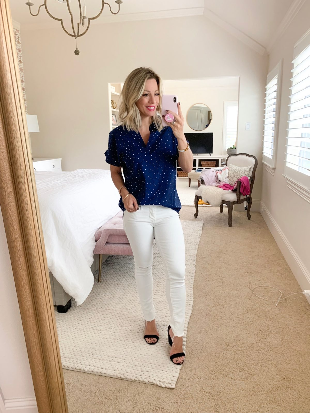 Amazon fashion faves navy dot top and white jeans