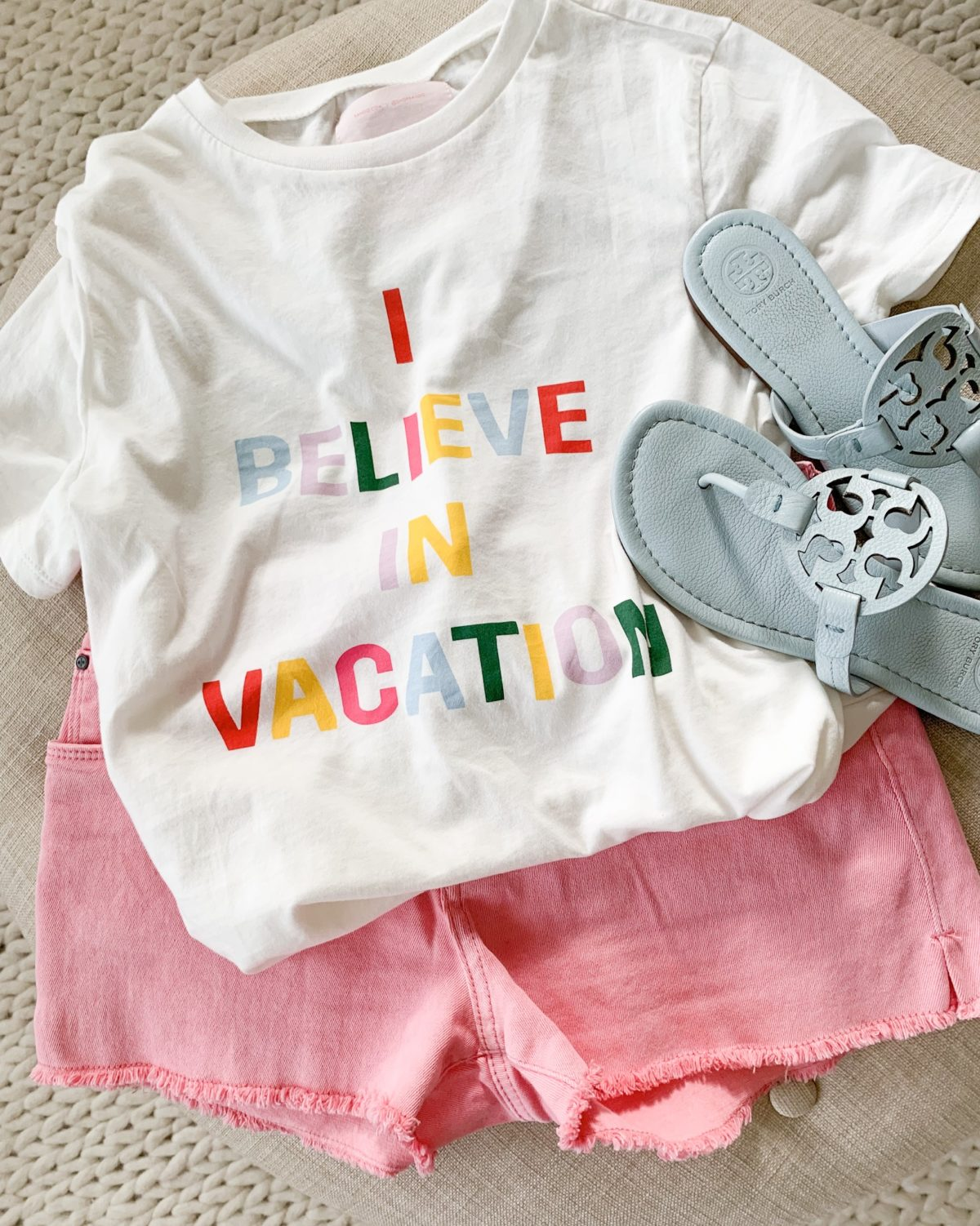 vacation tee and pink shorts